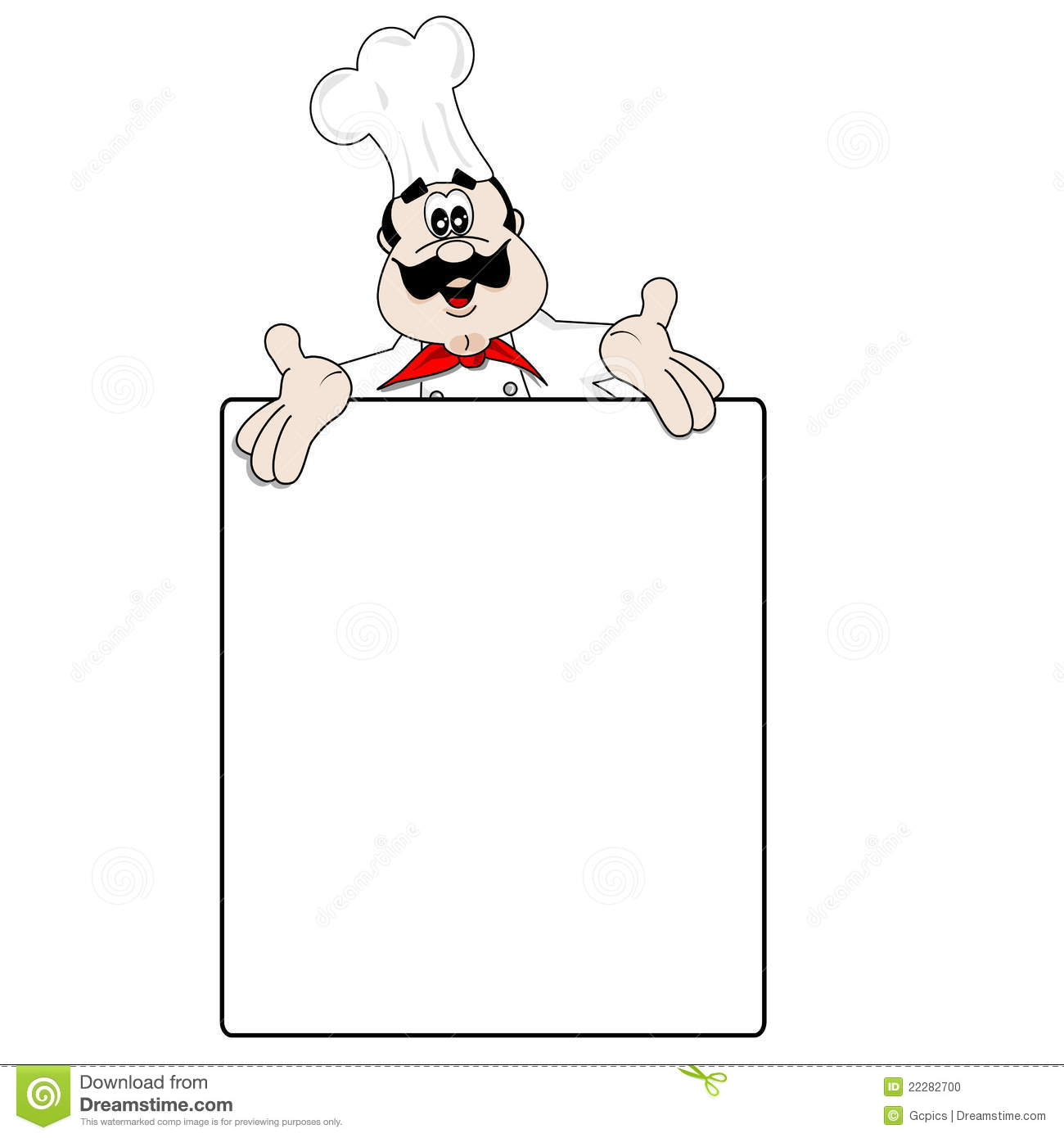 Cartoon chef and blank menu recipe stock photo image for Menus para almuerzos caseros