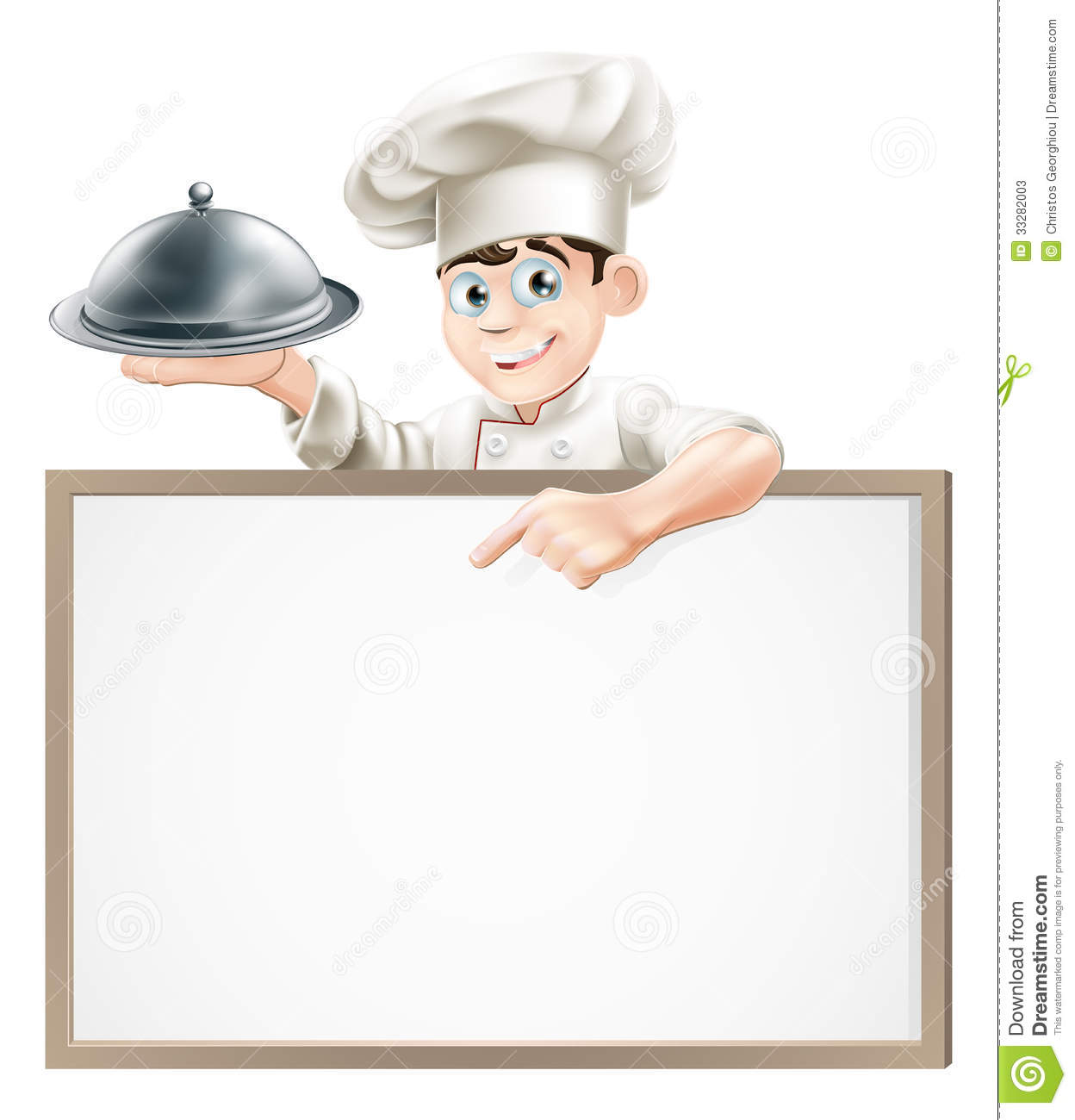 Cartoon Chef With Cloche And Menu Stock Photos Image