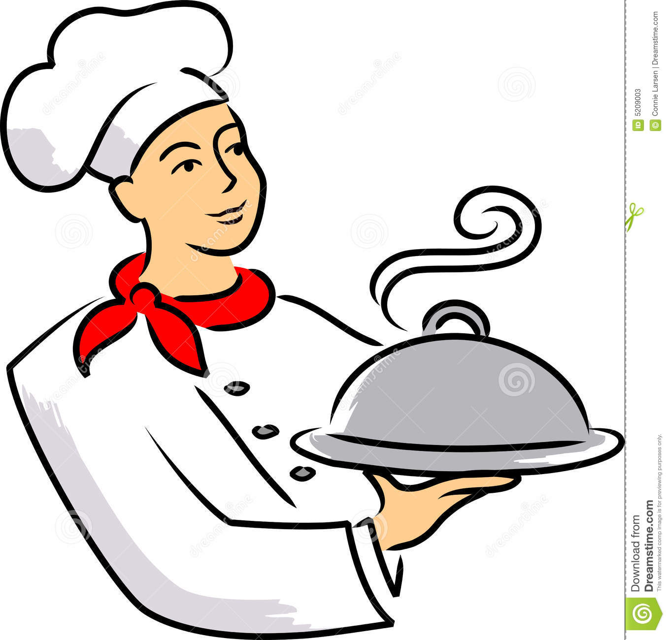 Cartoon illustration of a chef carrying a covered plate of food.