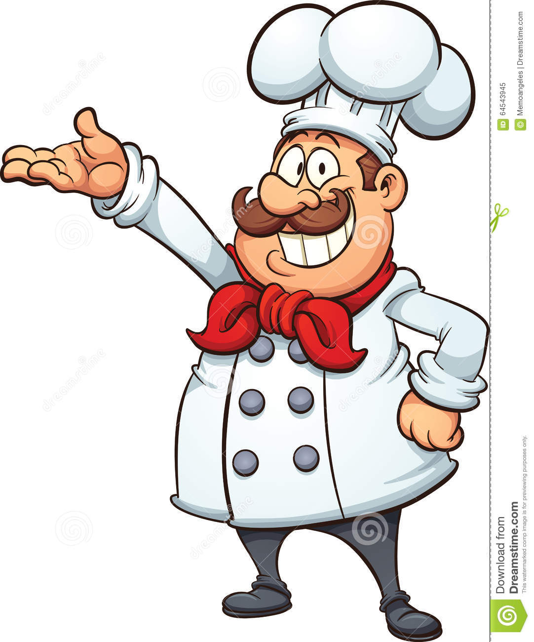 Fat cartoon chef. Vector clip art illustration with simple gradients ...