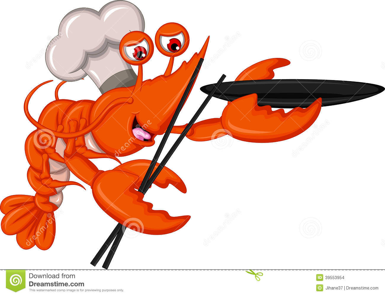 cartoon chef lobster with chopsticks and bowl stock Mexican Shrimp Clip Art Raw Fish Clip Art