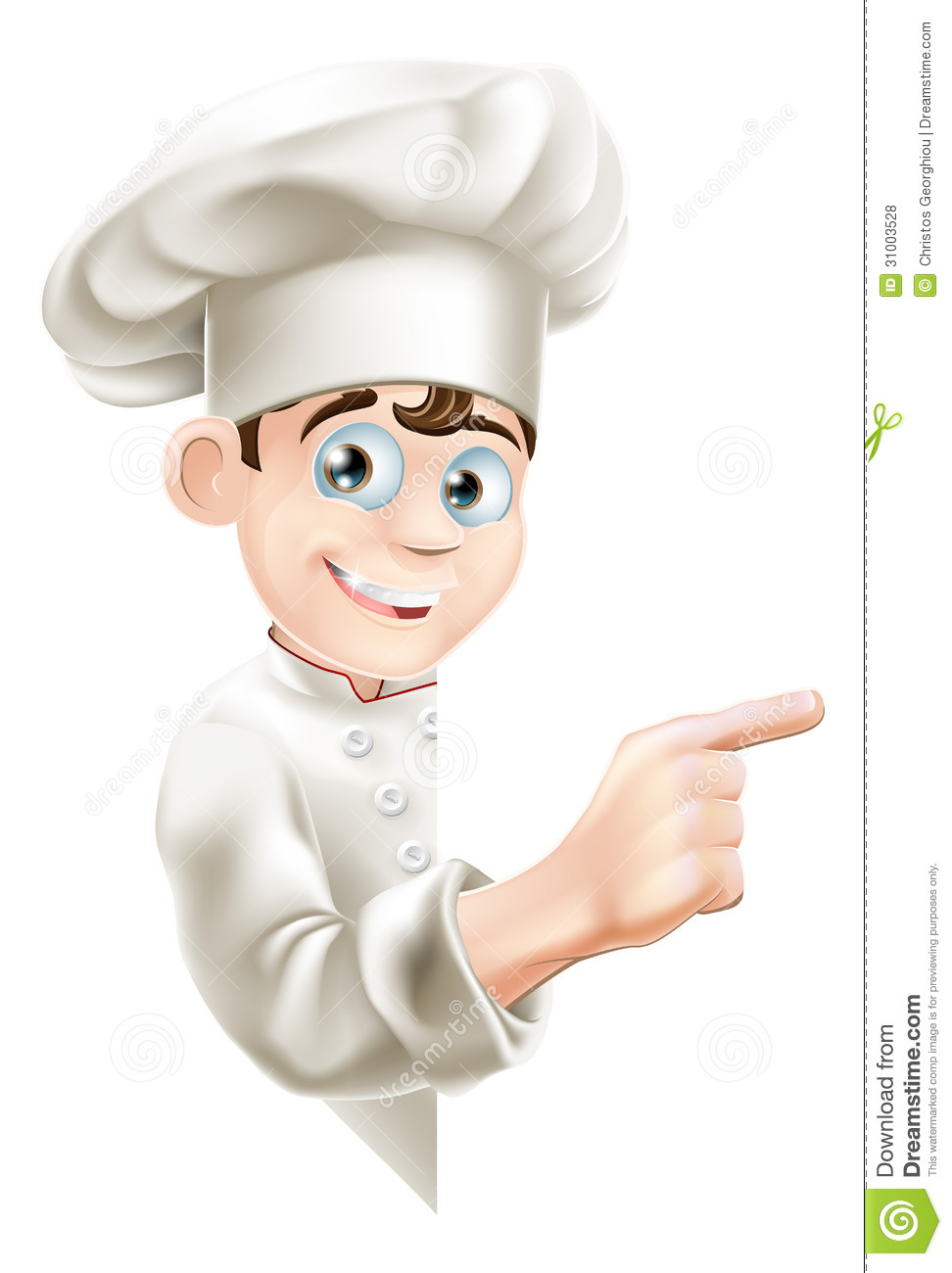 Illustration of a cartoon chef mascot pointing at your message or ...