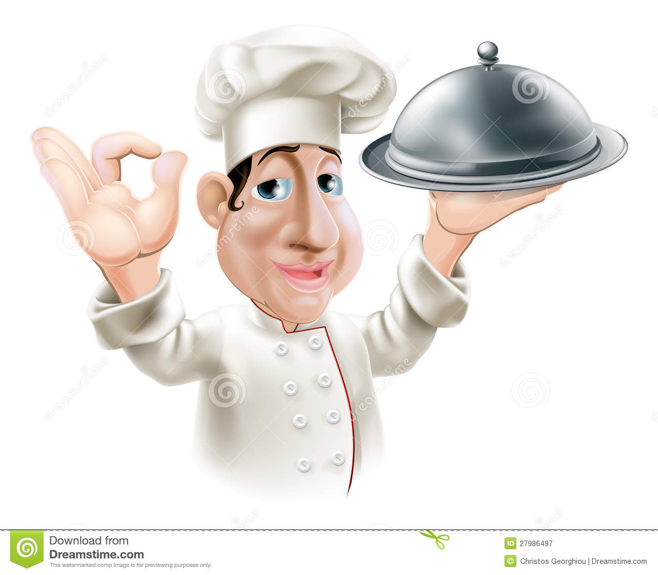 Cartoon Chef With Serving Tray Stock Vector Illustration