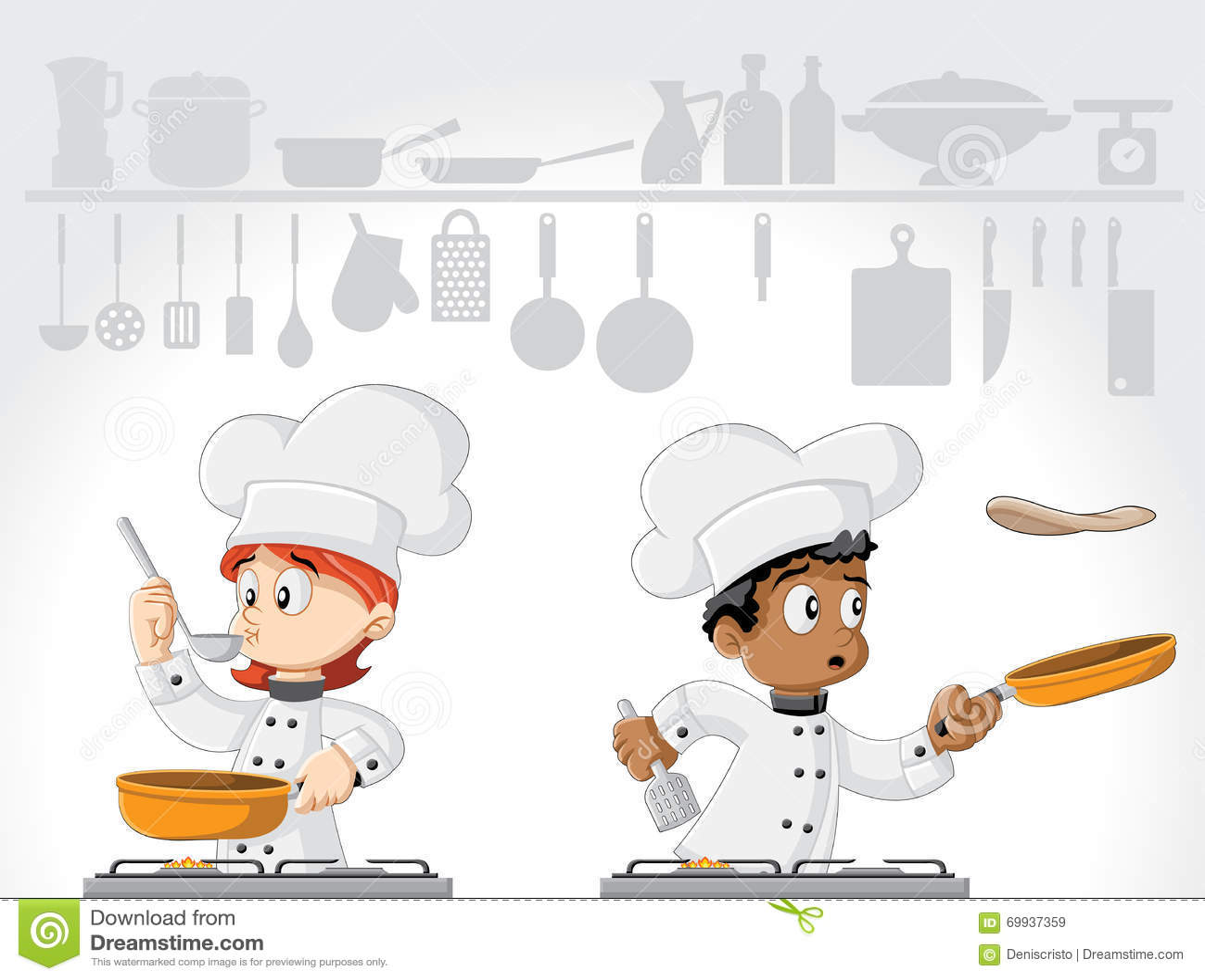 Cartoon Chefs Cooking Stock Vector. Image Of Kitchen