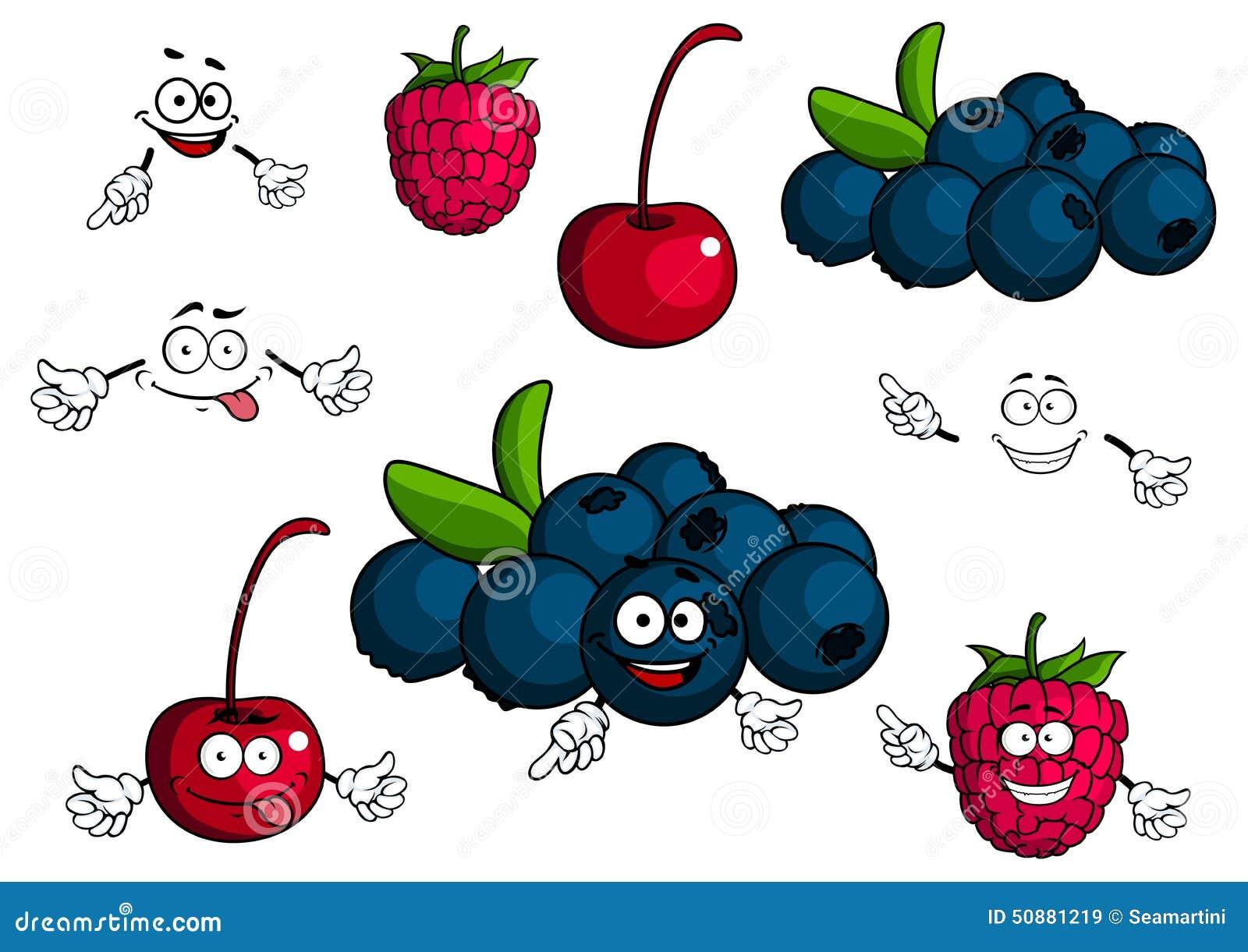 Cartoon cherry raspberry blueberries characters stock