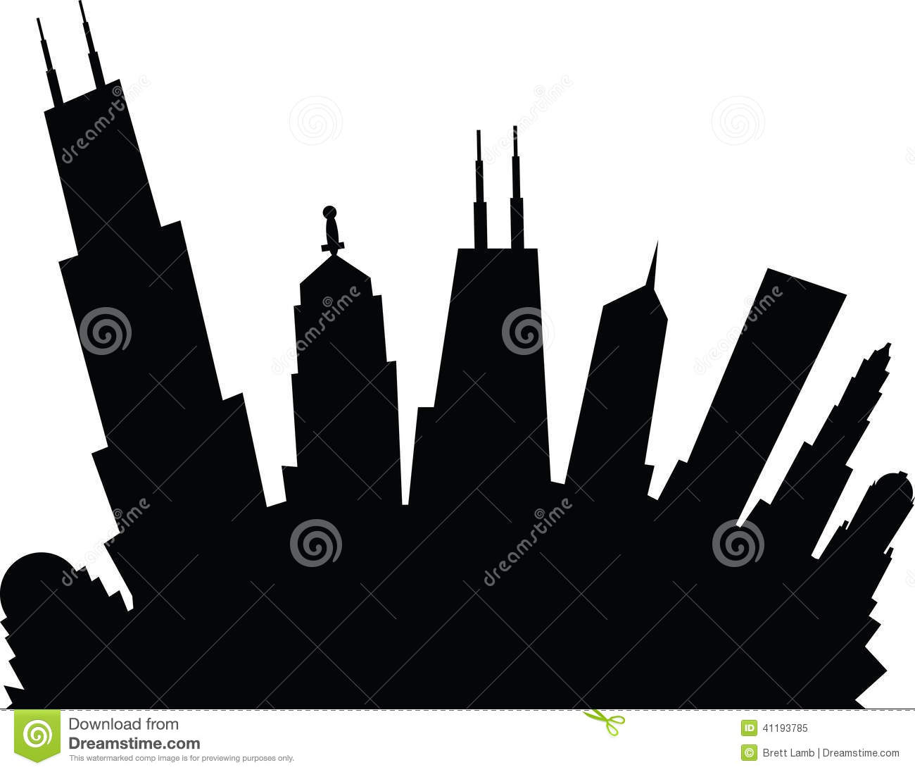 Chicago Skyline Silhouette Vector Art Free - image of chicago skyline ...