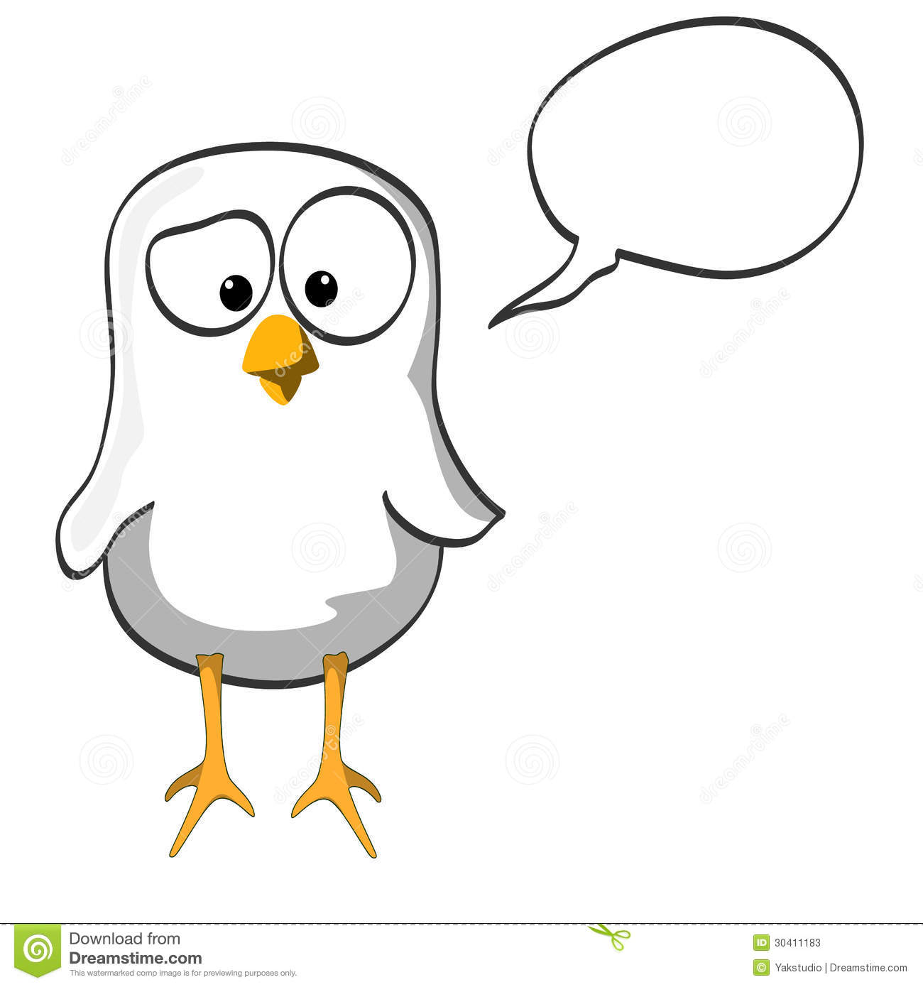 Black and white little bird with speech bubble.
