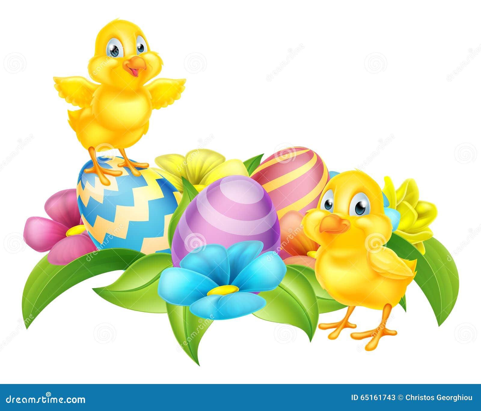 Cartoon Chicks And Easter Eggs Stock Vector Illustration Of Bird