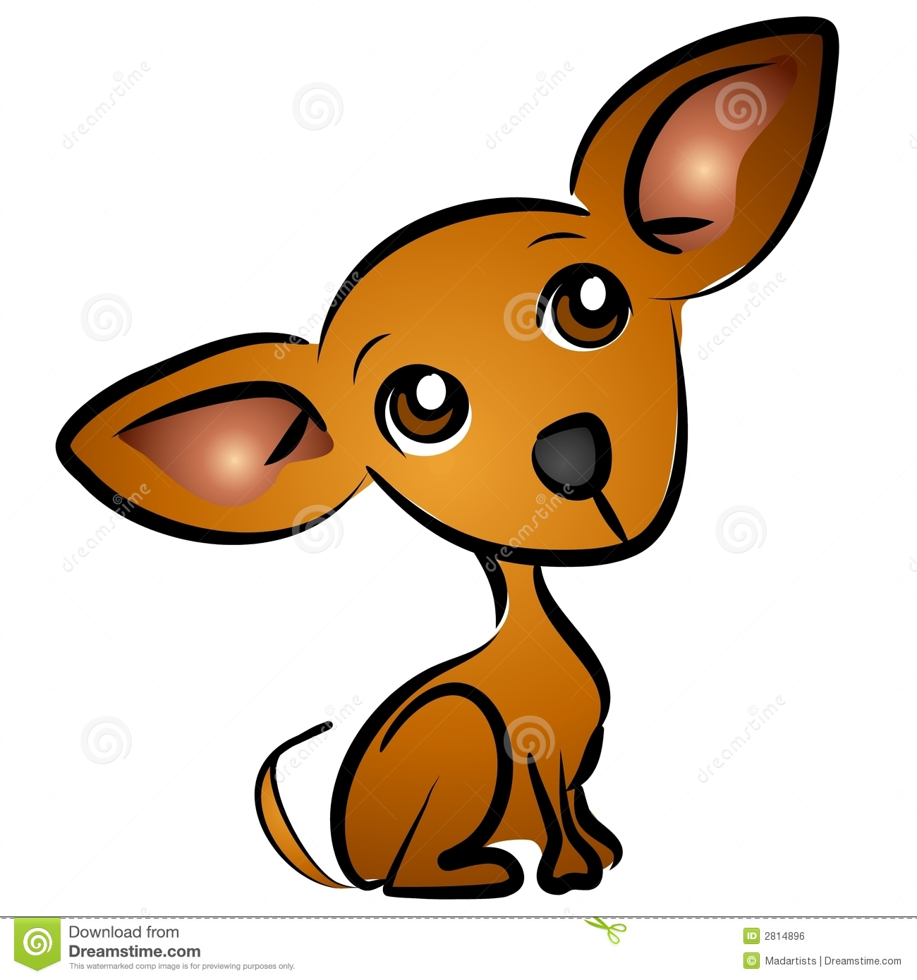 small brown chihuahua dog cartoon clip art illustration with classic