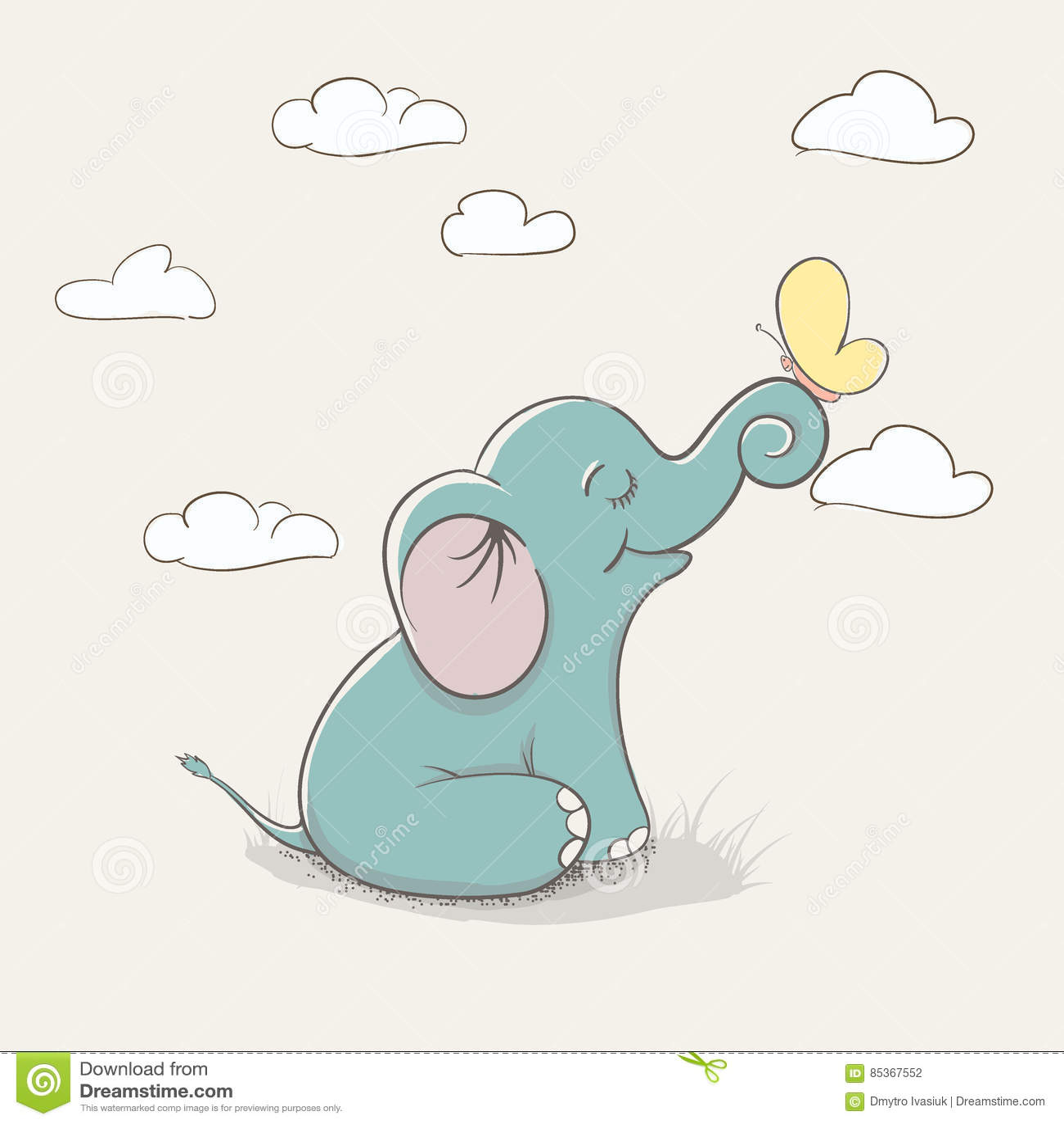 Cartoon Child Elephant Stock Vector Illustration Of Cute 85367552