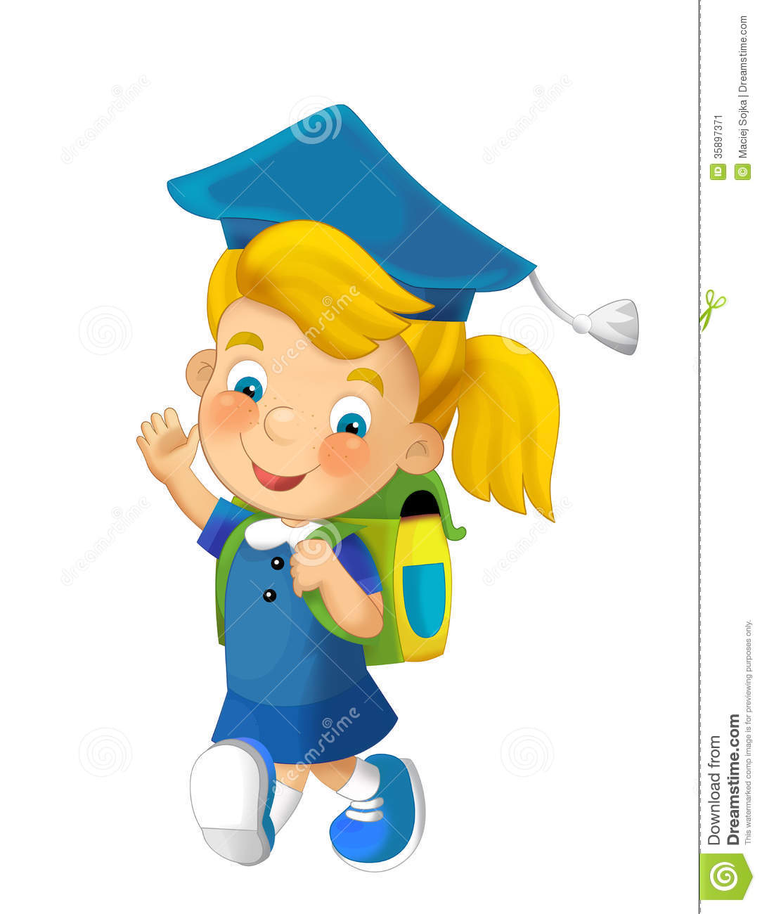 cartoon child going to school illustration for children stock image - Children Cartoon Pictures