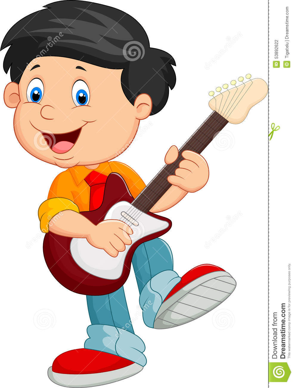 cartoon child play a guitar