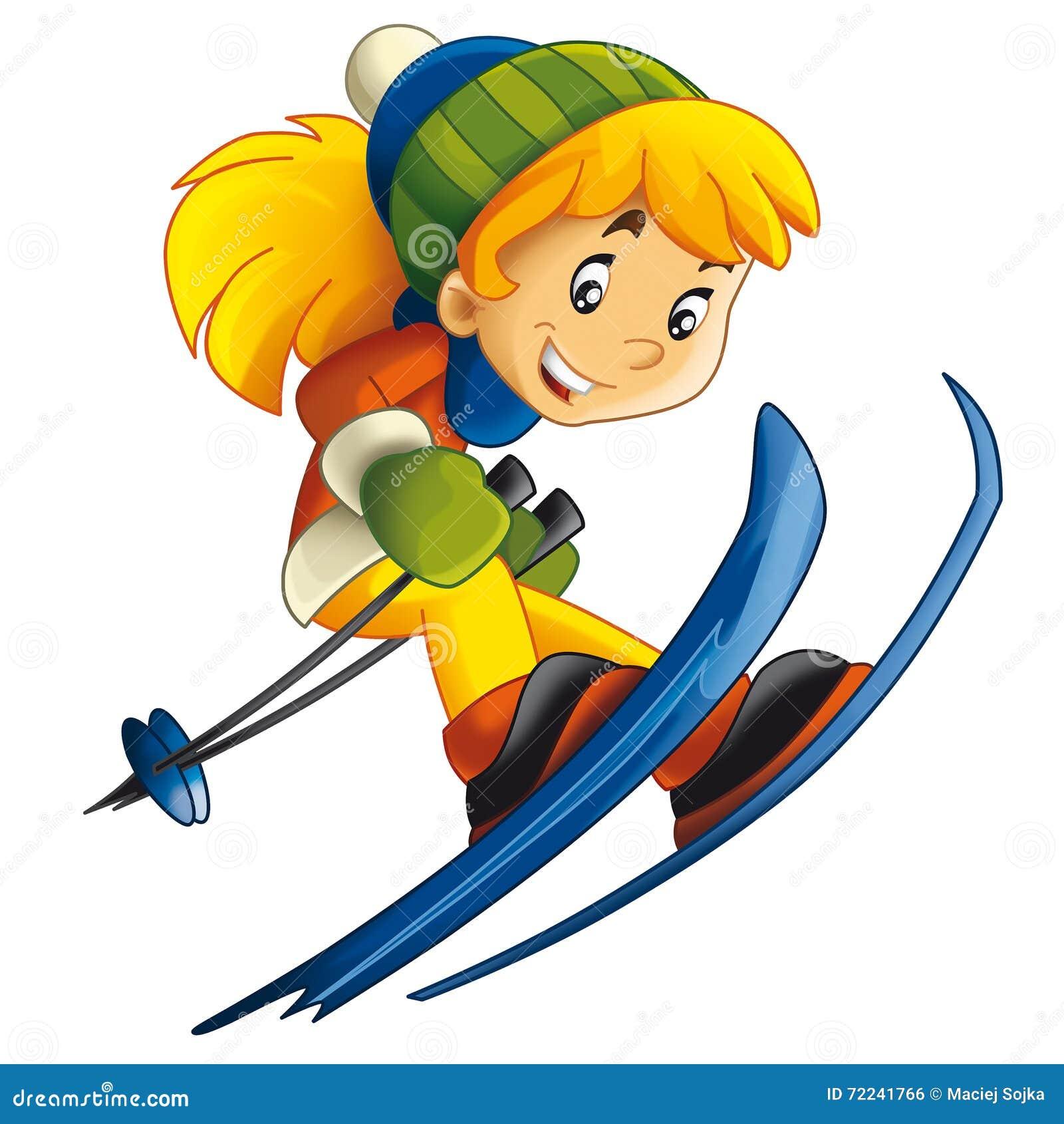 Cartoon Child - Ski - Activity - Stock Illustration ...