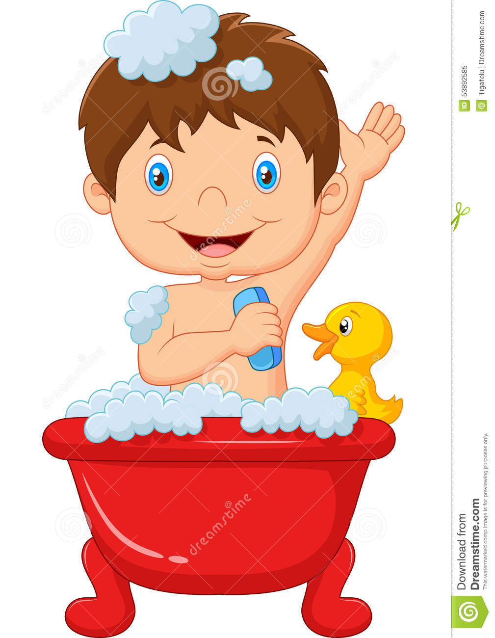Download Cartoon Child Taking A Bath Stock Vector