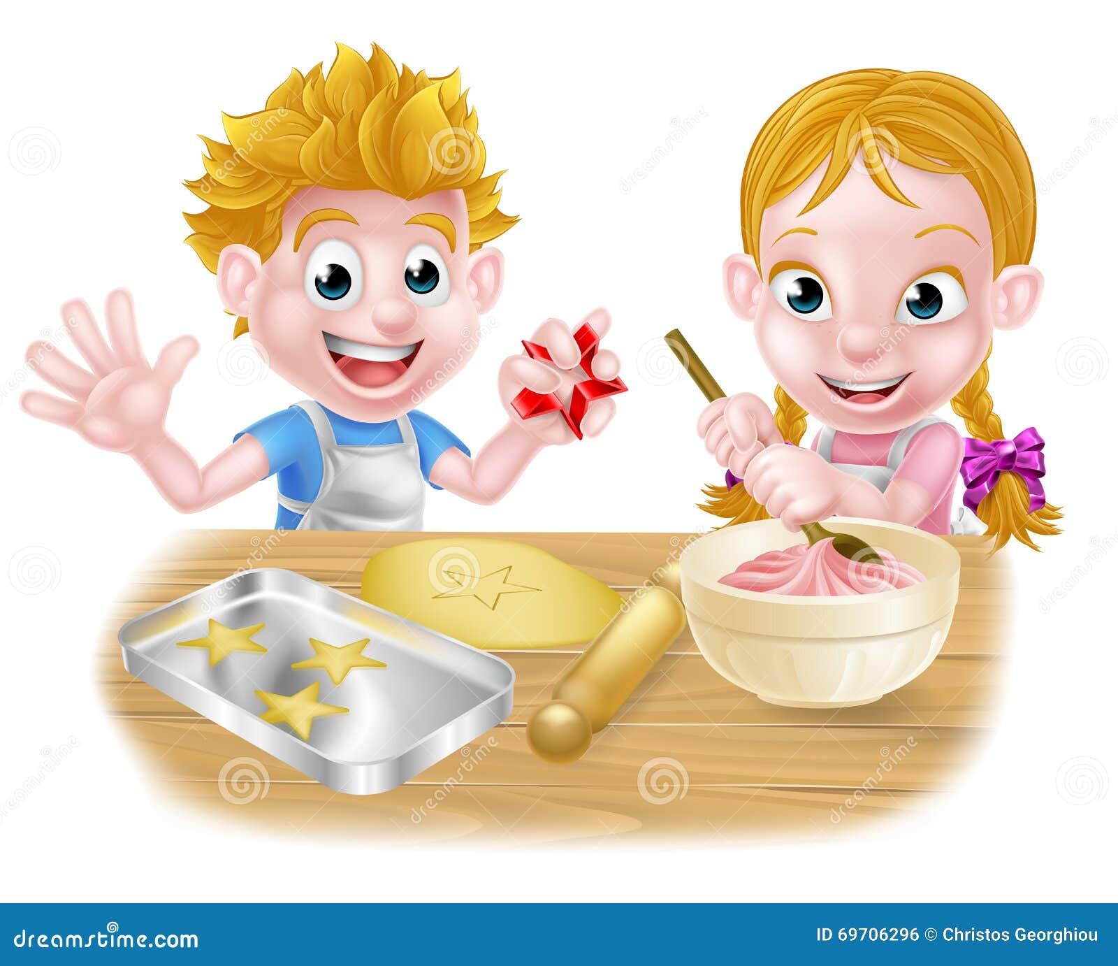 Design Your Kitchen Cartoon Children Baking Stock Vector Image 69706296