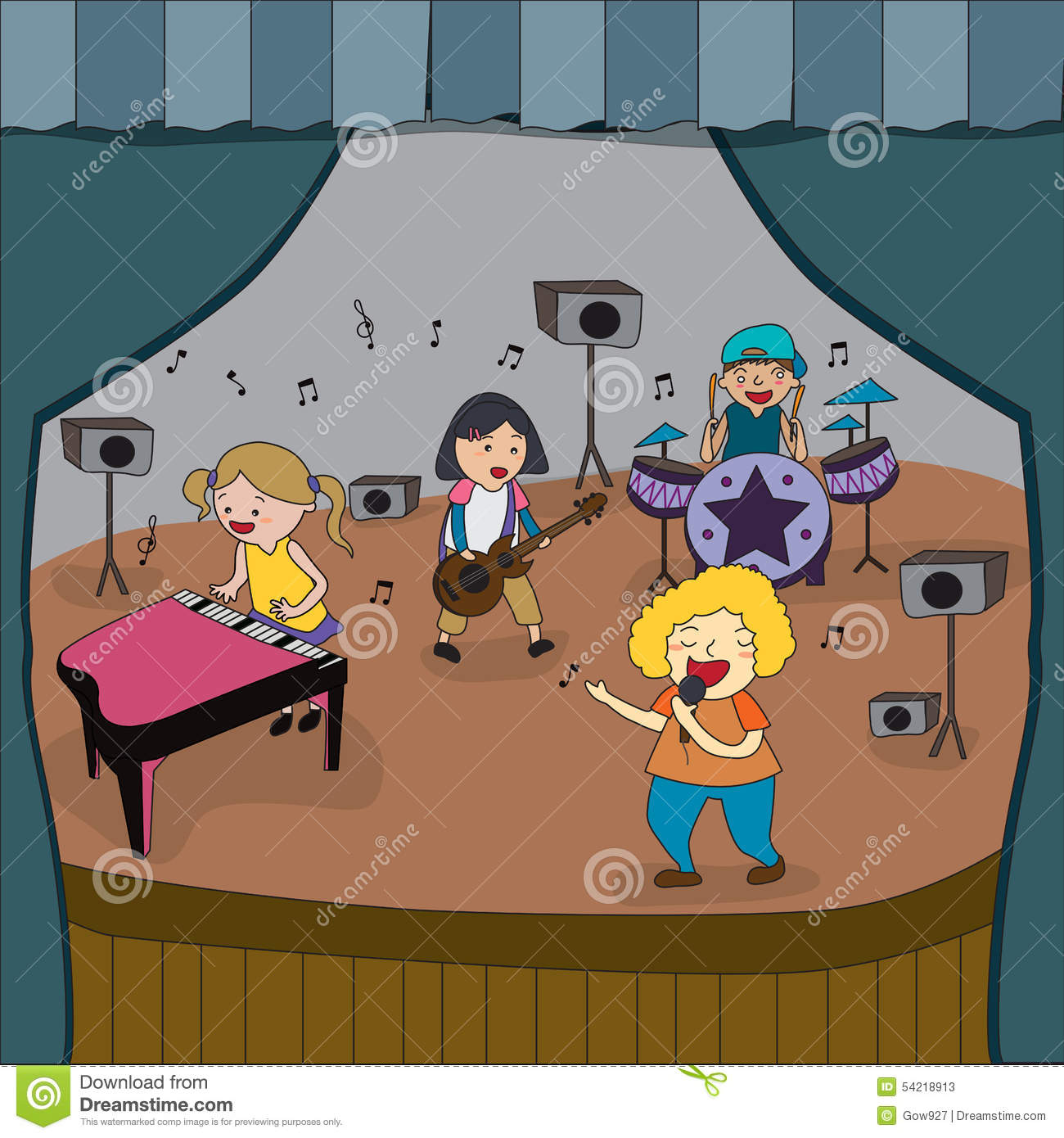 Cartoon Children Band Is Playing Concert On Stage In School Fair Stock Vector Image 54218913