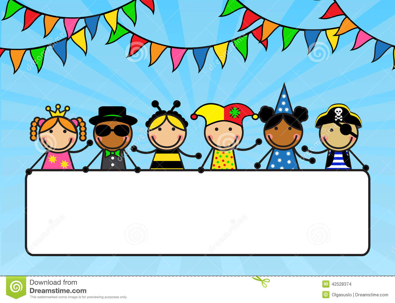 Cartoon children in carnival costumes hold a poste