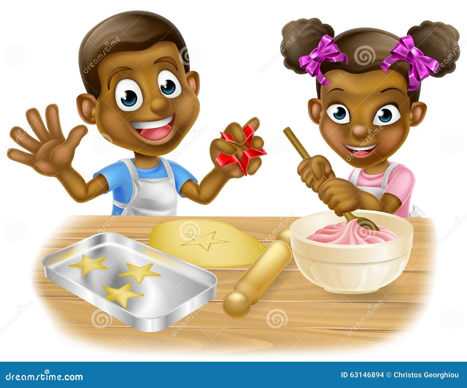 cartoon children chefs cooking stock vector
