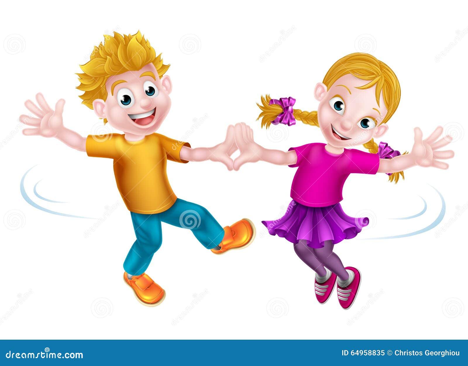 Cartoon Children Dancing Stock Vector. Illustration Of