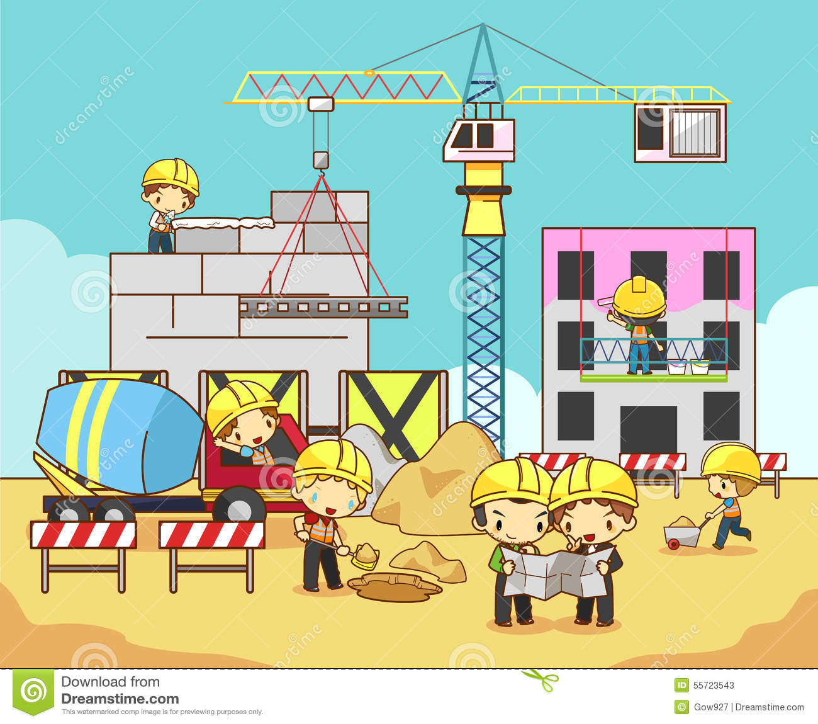 Building Construction Cartoon : Cartoon children engineer technician and labor worker