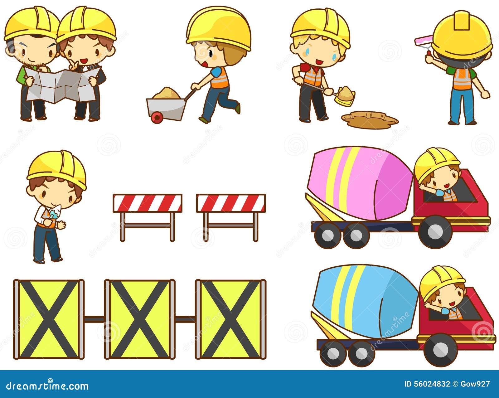Cartoon children engineer technician and labor worker for Drawing websites no download