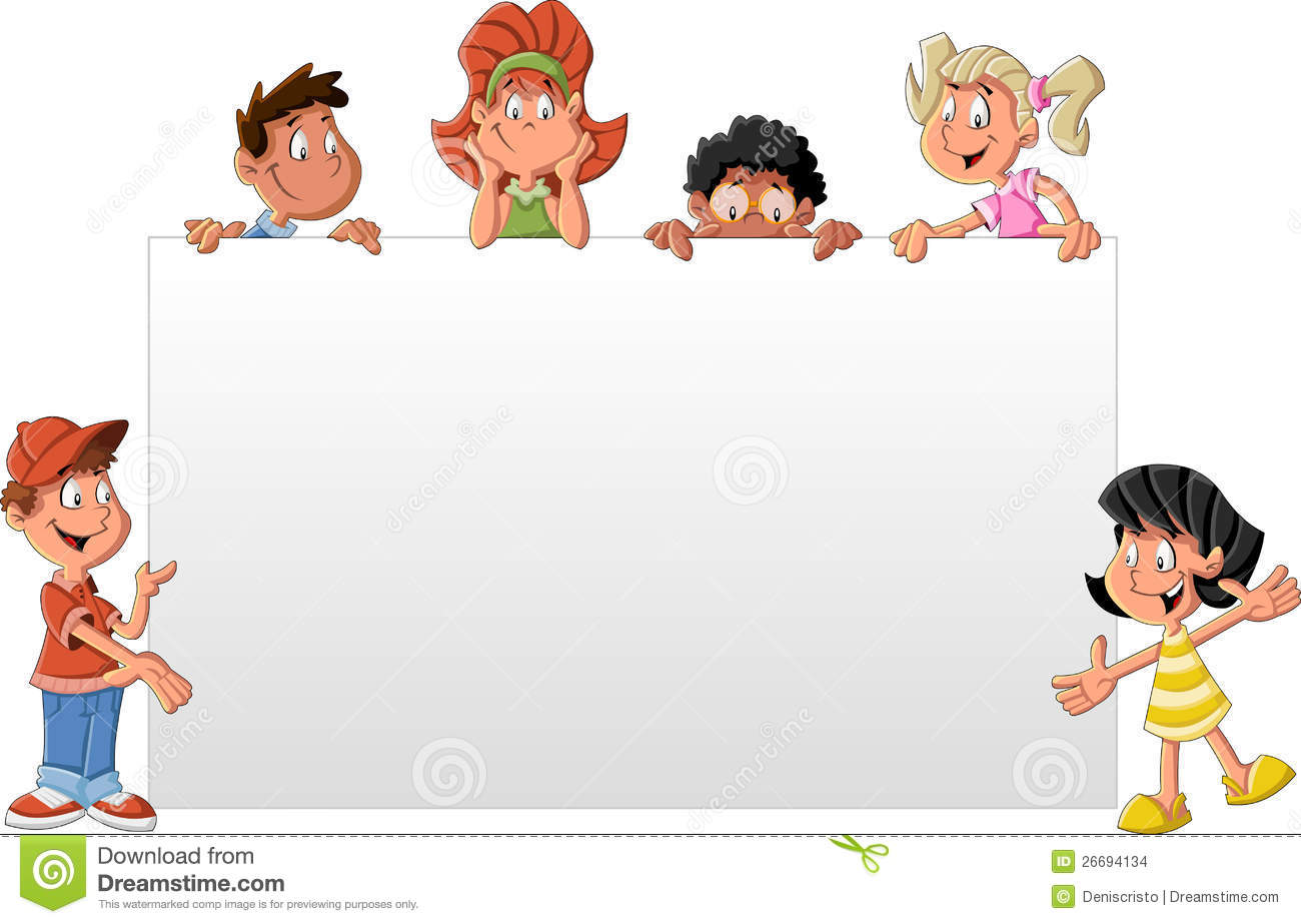 Cartoon Children In Front Of White Board Stock Images