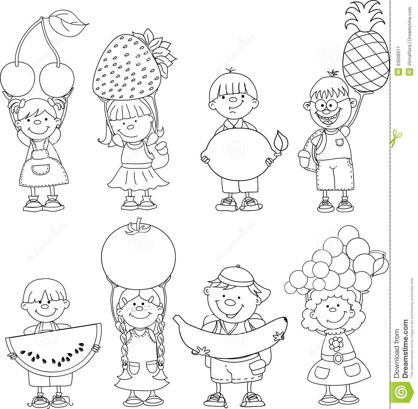 Cartoon Children With Fruits Vector Stock Image Image