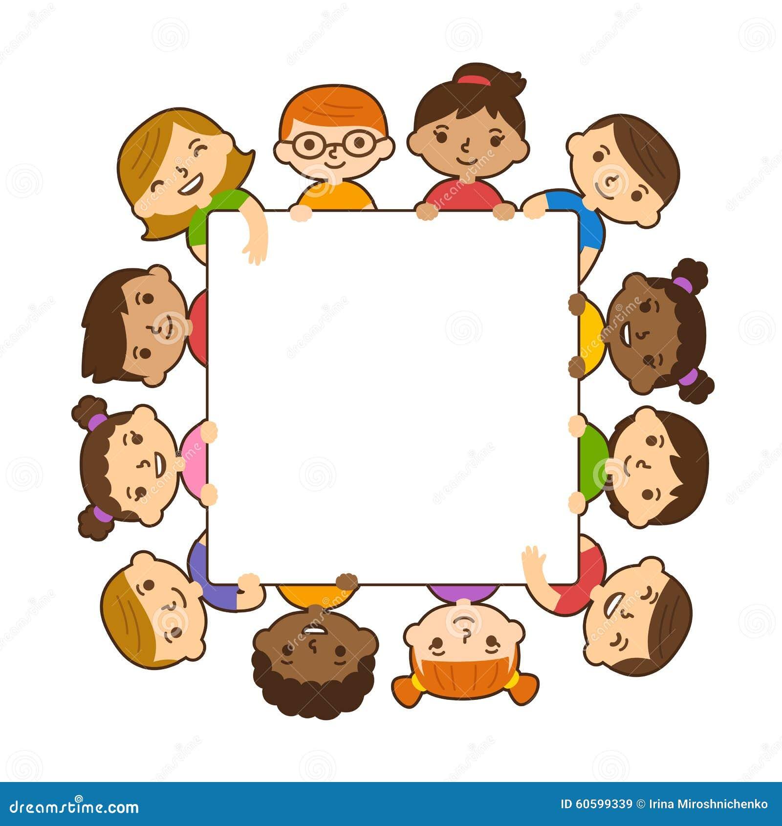 Cartoon Children Holding Banner Stock Vector Image 60599339