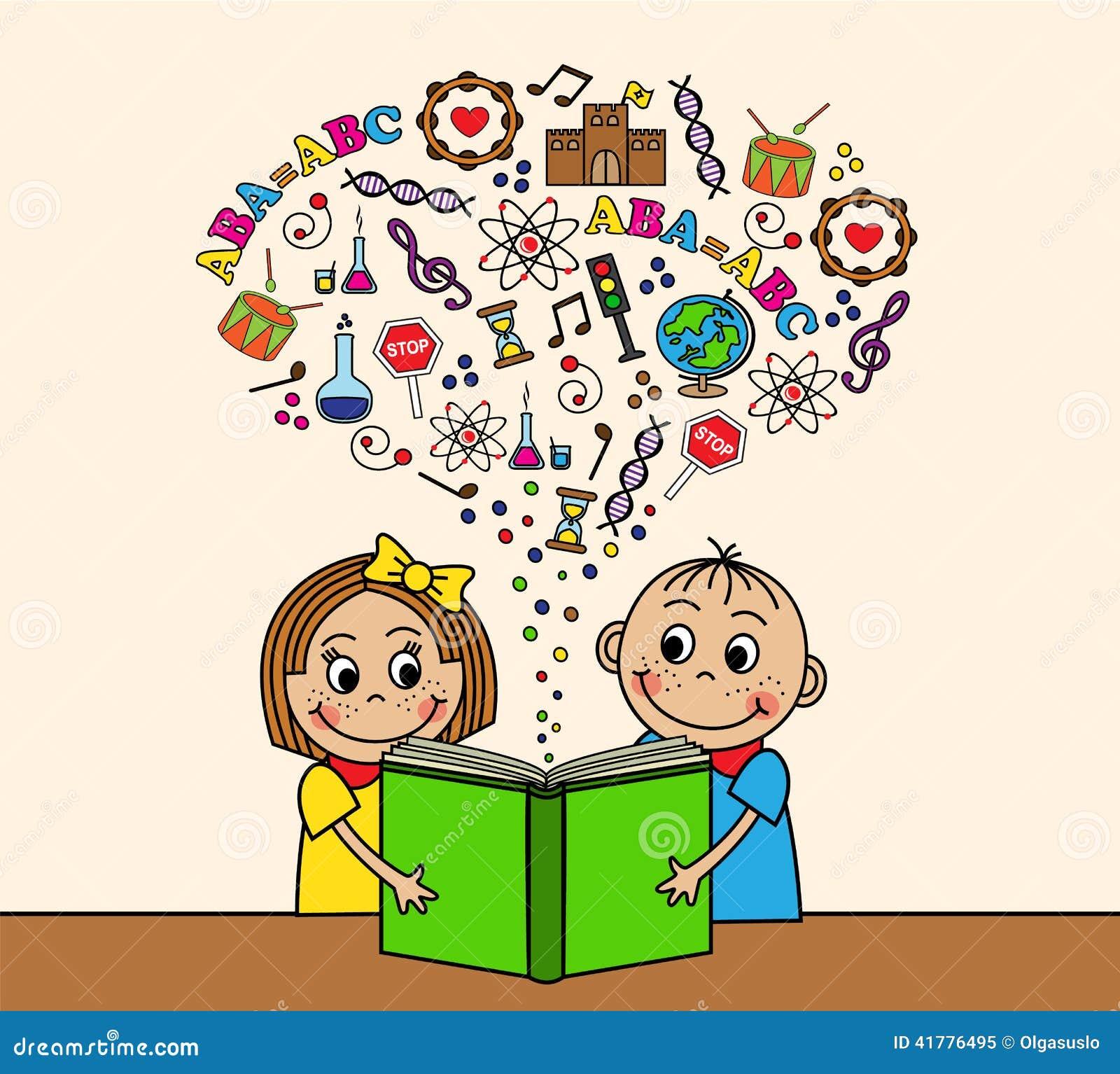 Dask Cartoon Children Read A Book Stock Vector Image 41776495