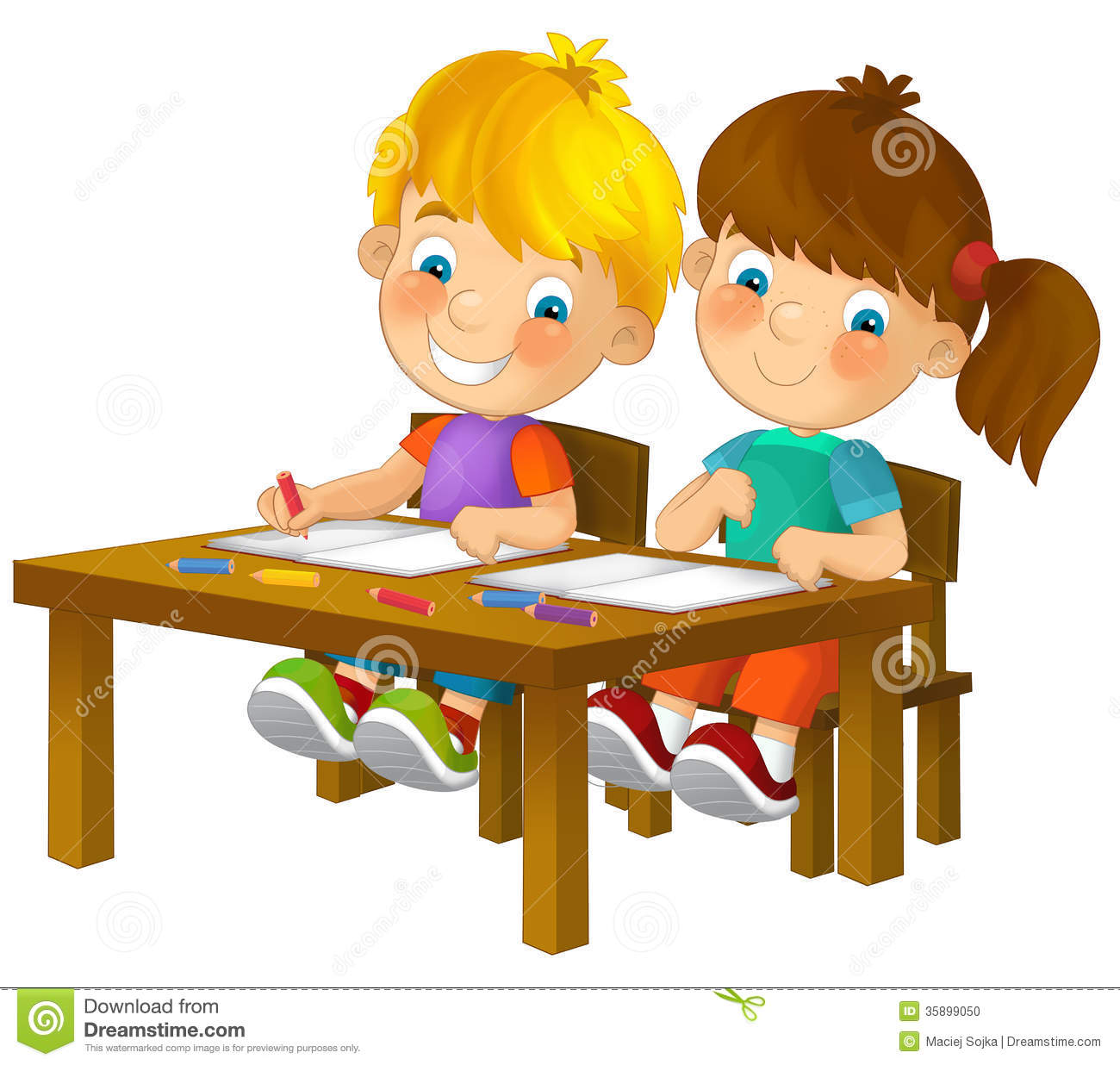 Tope Color Cartoon Children Sitting Learning Illustration For The
