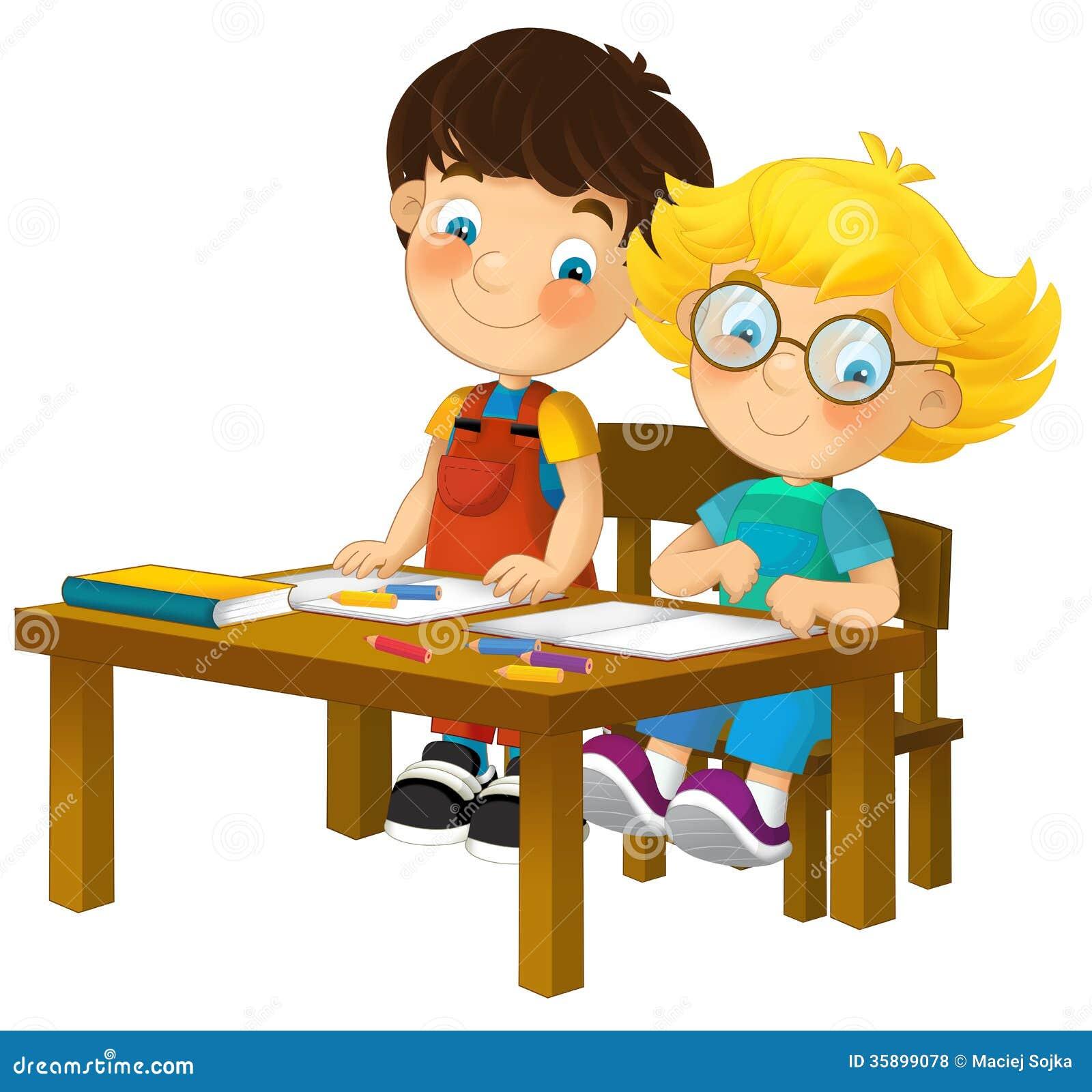 Cartoon Children Sitting Learning Illustration For The