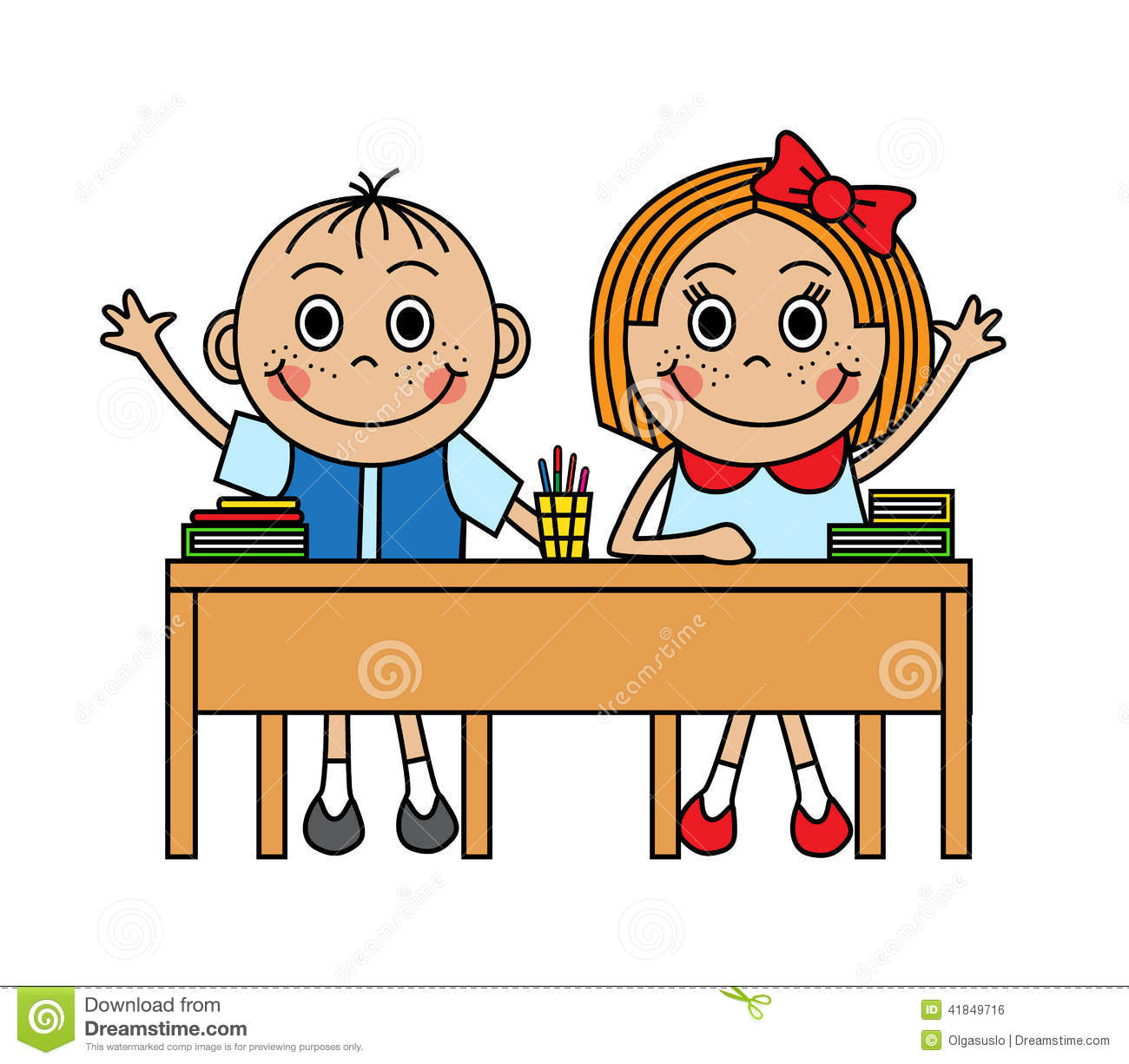 Cartoon Children Sitting At School Desk Stock Vector