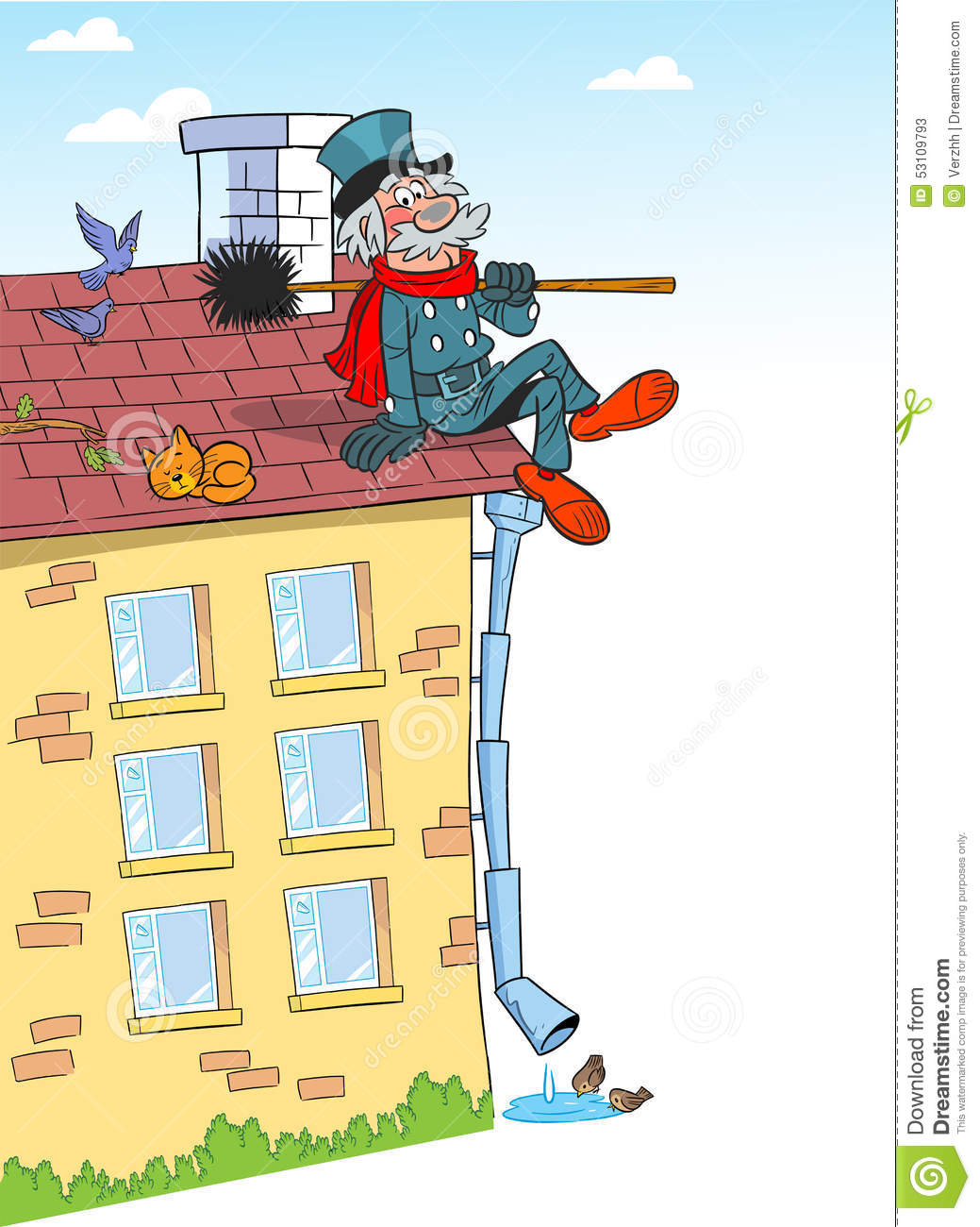 Cartoon Chimney Sweep On Roof Stock Vector Illustration