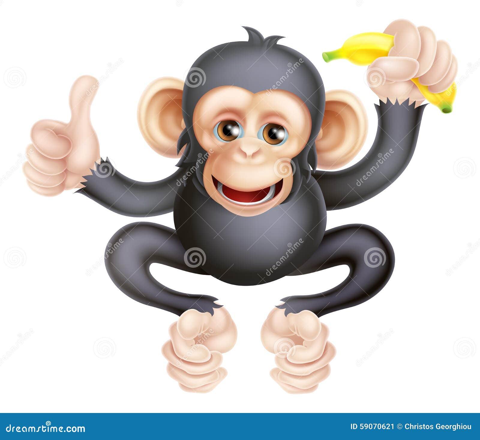 Cartoon Chimp Monkey With Banana Stock Vector - Image ...