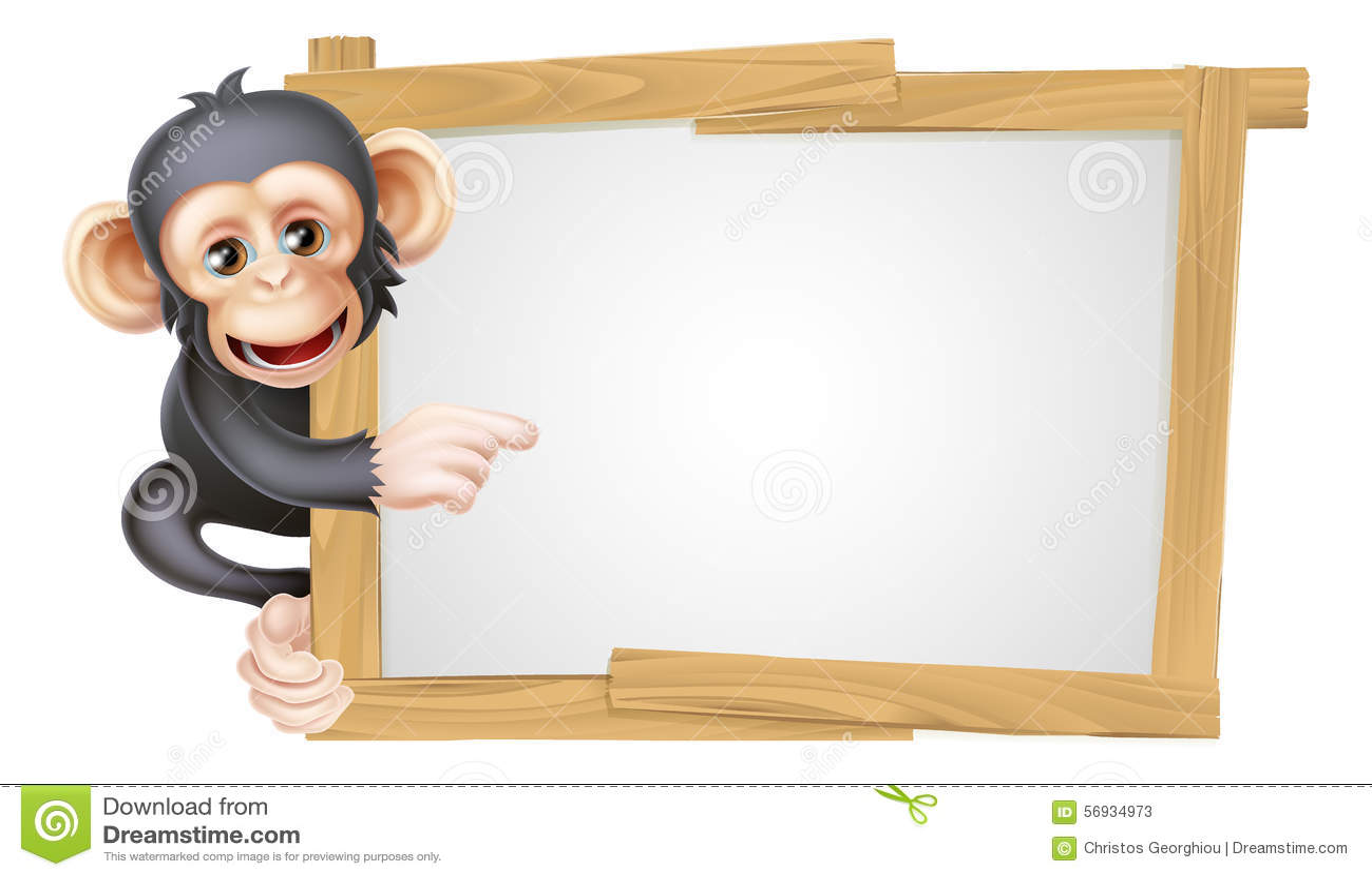 Cartoon Chimp Sign Stock Vector - Image: 56934973