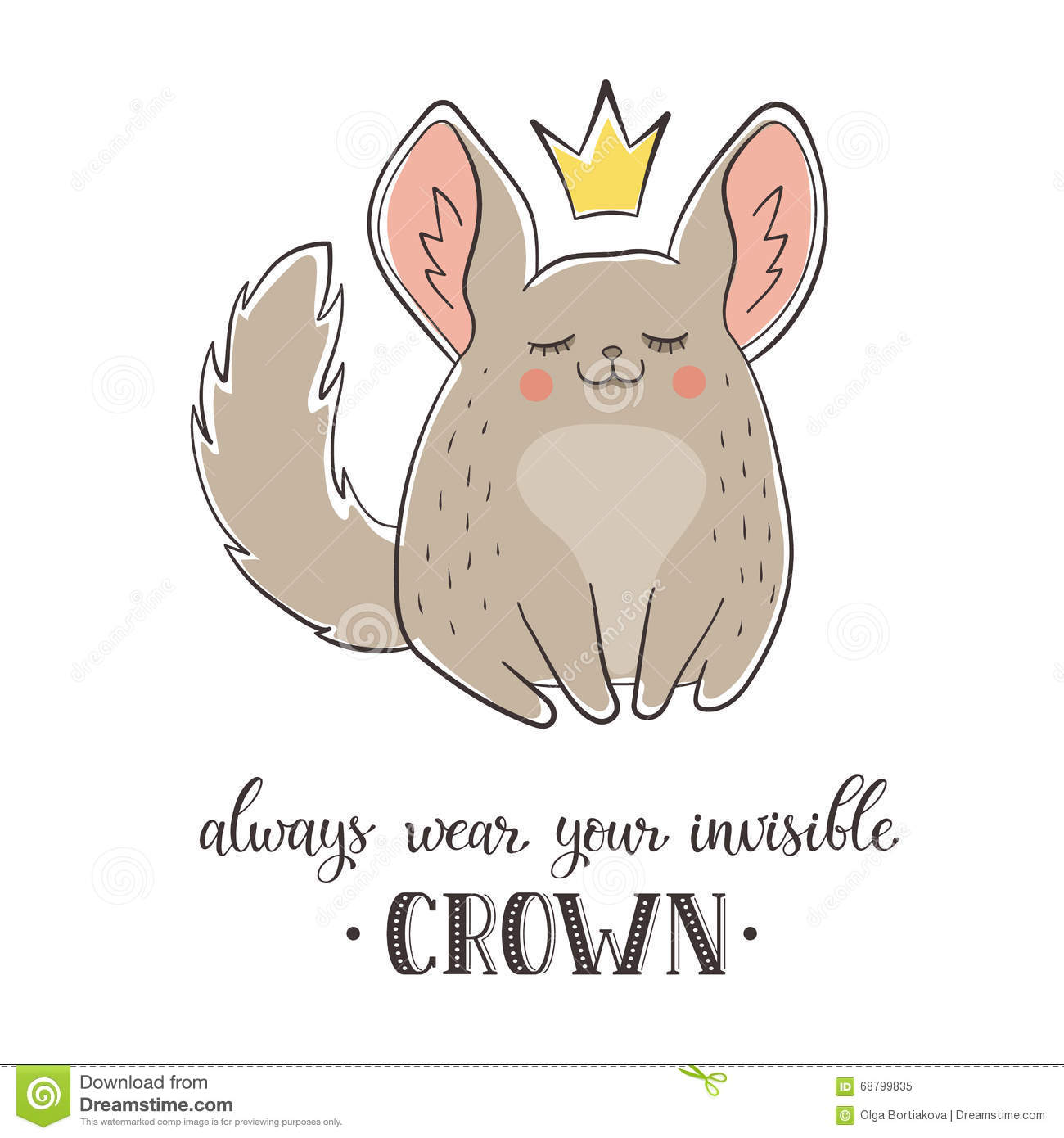 poster with cute cartoon chinchilla. Always wear your invisible crown ...