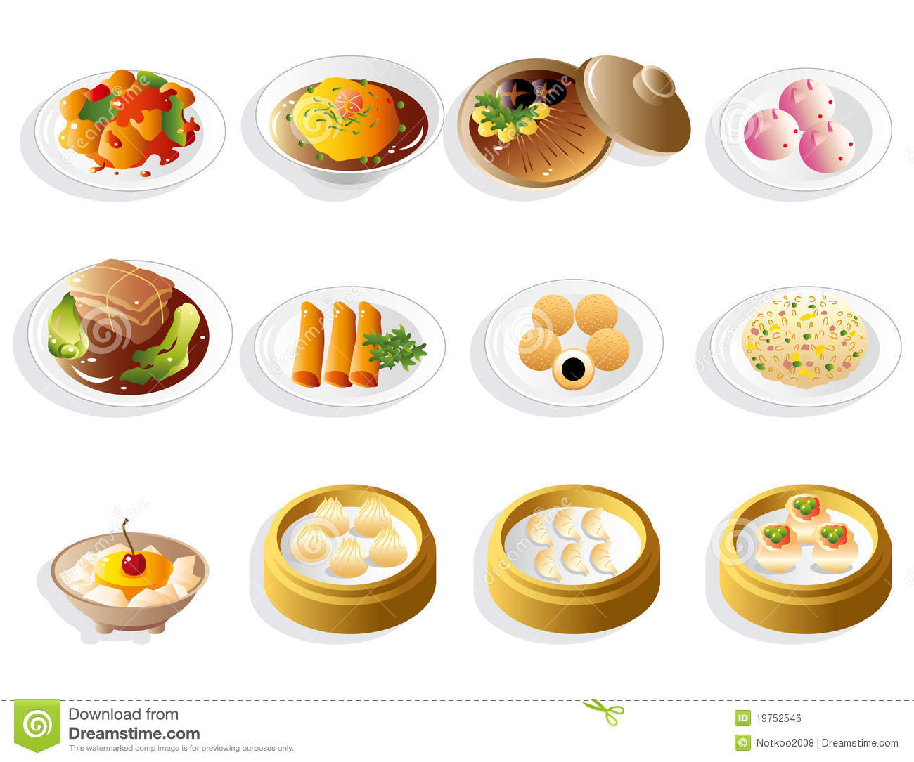 Cartoon Chinese Food Icon Set