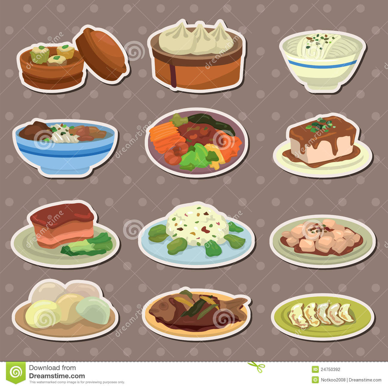 cartoon chinese food stickers stock vector illustration of rh dreamstime com chinese food cartoon box chinese food cartoon box