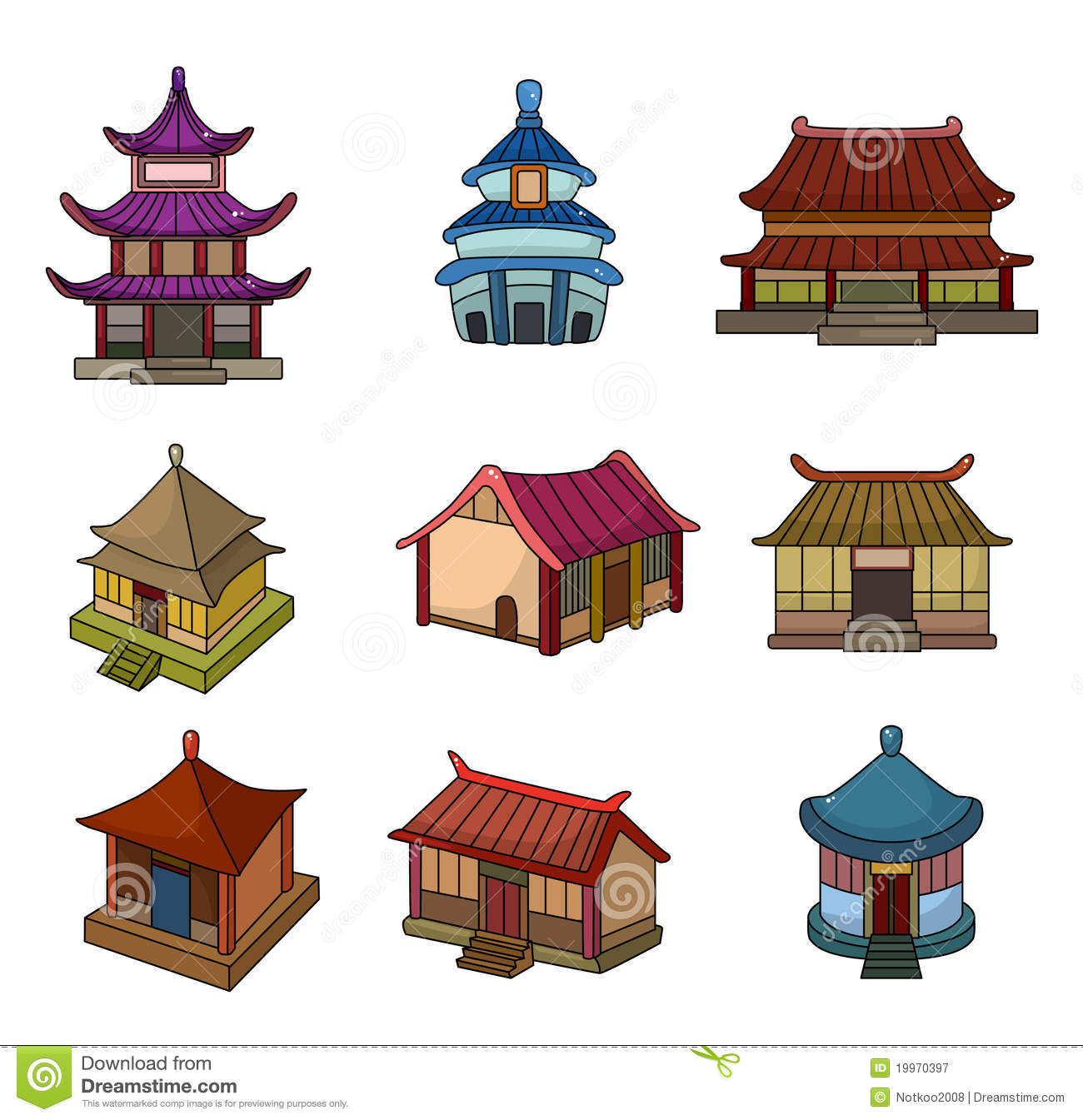Ancient Chinese Houses Drawing Cartoon House Icon Set