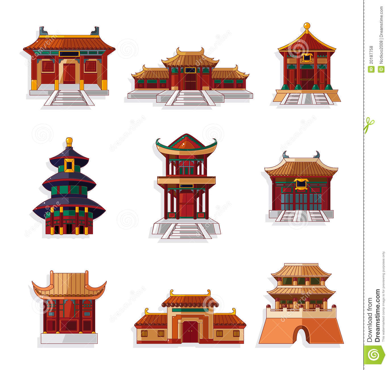 Cartoon Chinese House Icon Set Stock Vector Illustration