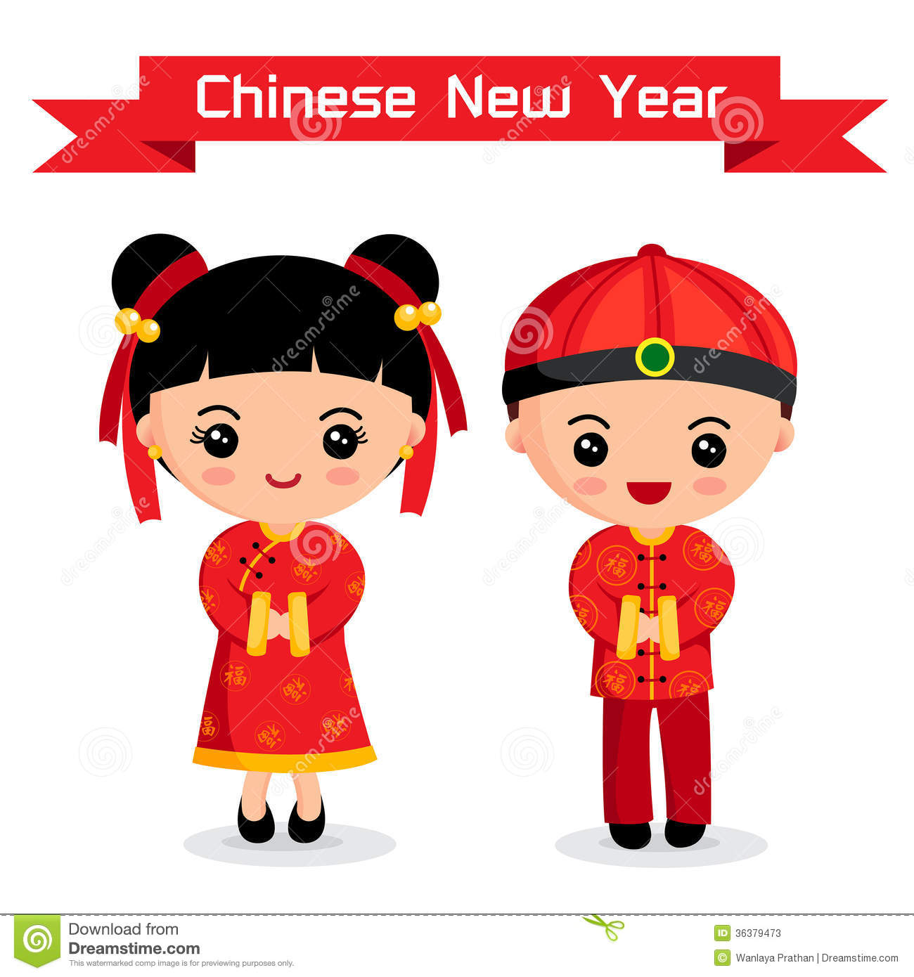 Cartoon of chinese boy amp girl chinese new year