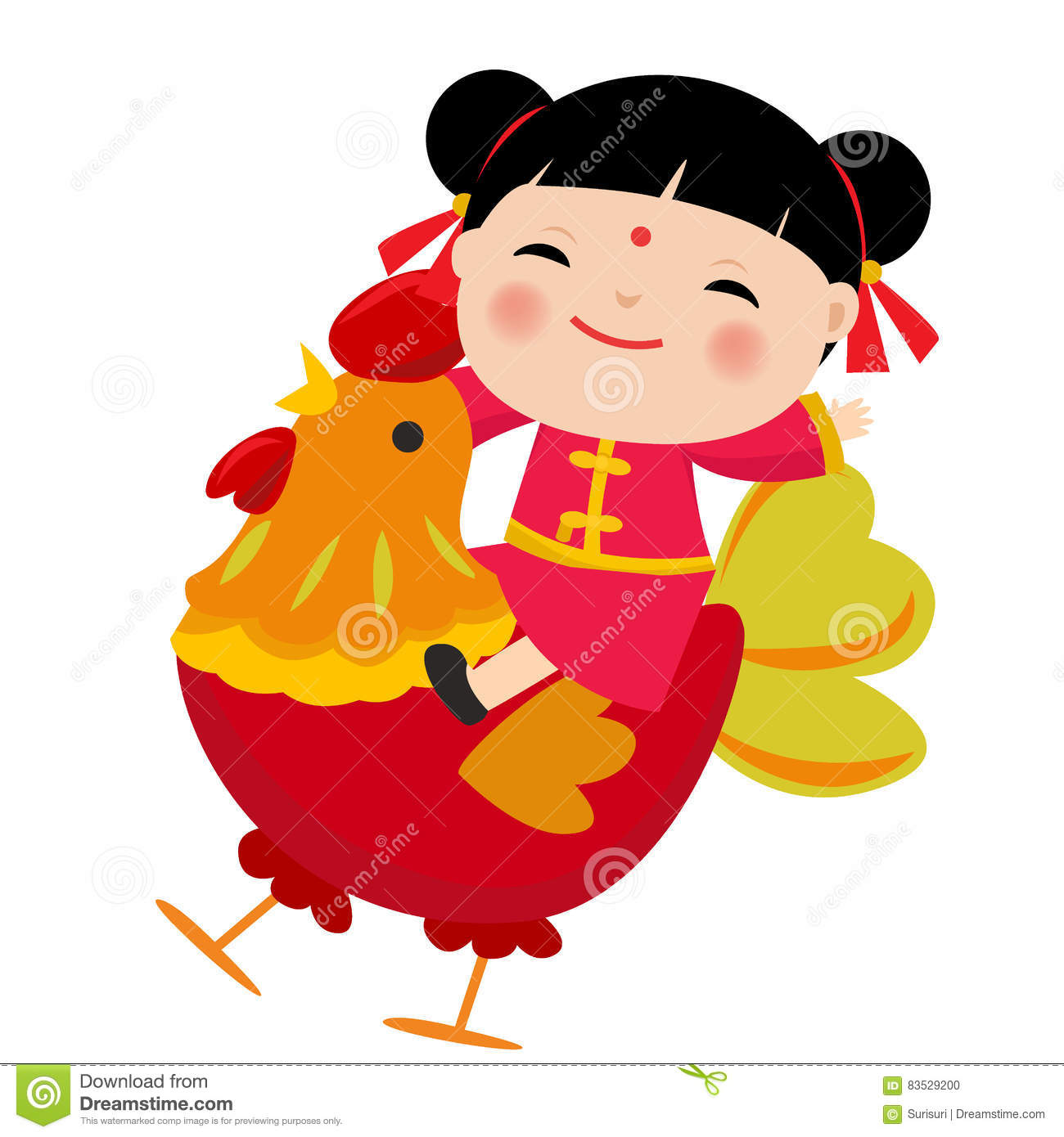 Cartoon Chinese Kidsmbol Of 2017 Red Rooster Chinese New Year