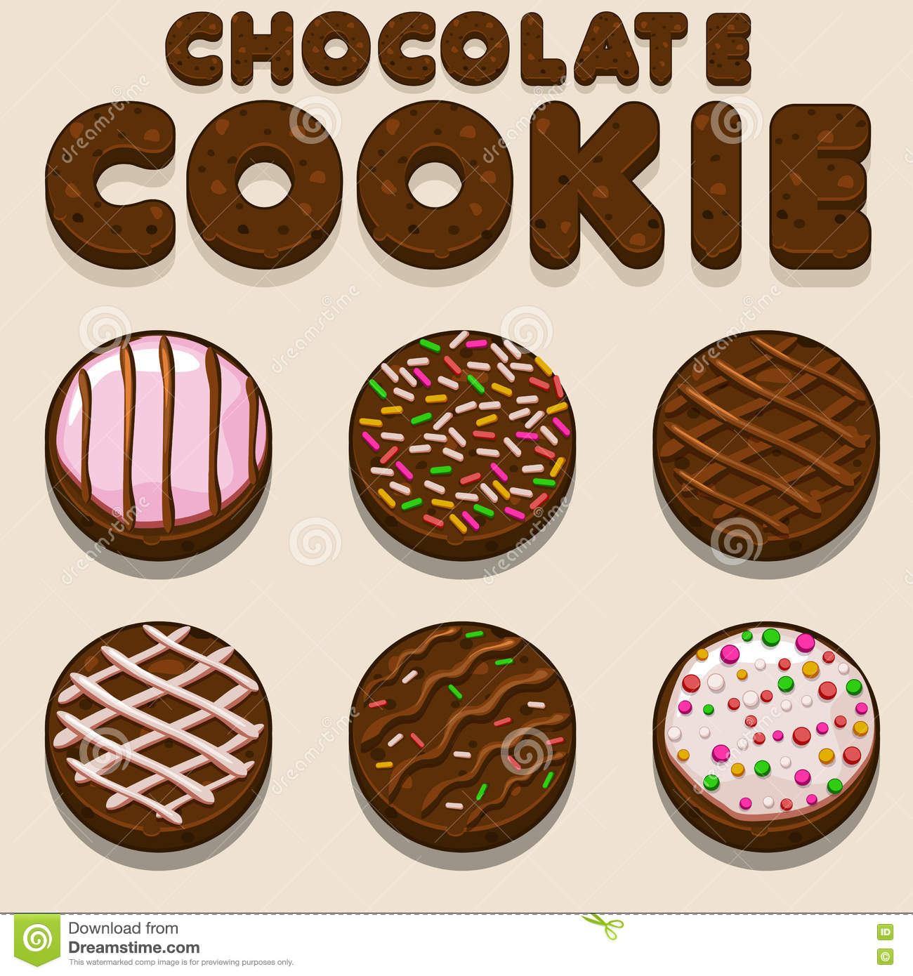 Cartoon Chocolate cookie, biskvit vector food letters