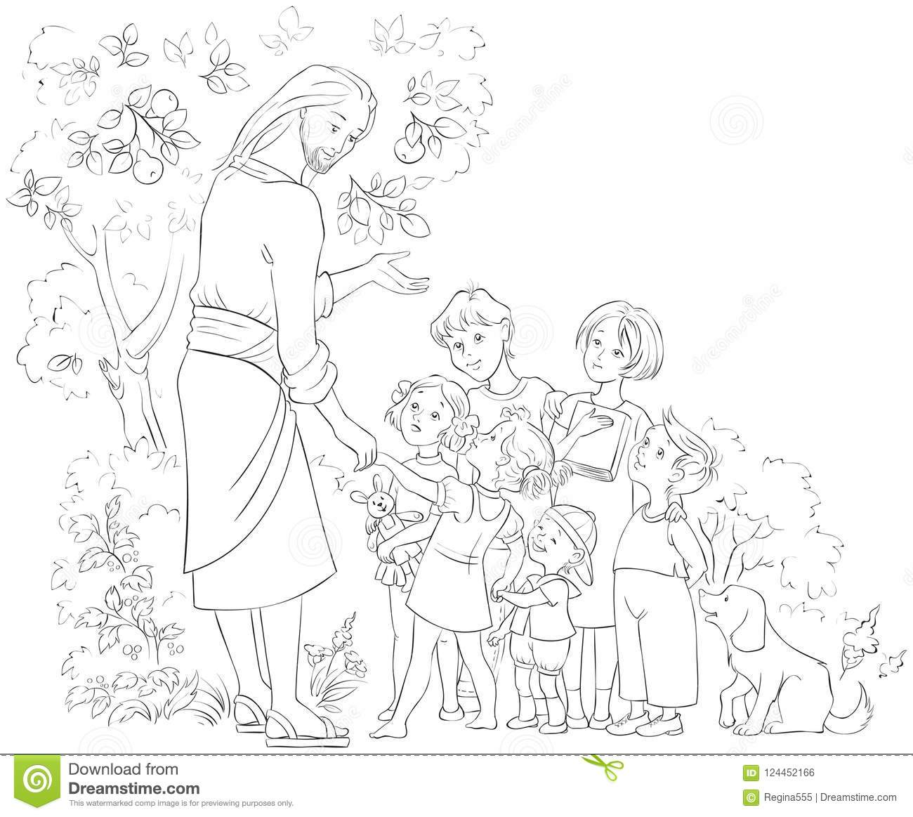 - Jesus With Children Coloring Page Stock Vector - Illustration Of