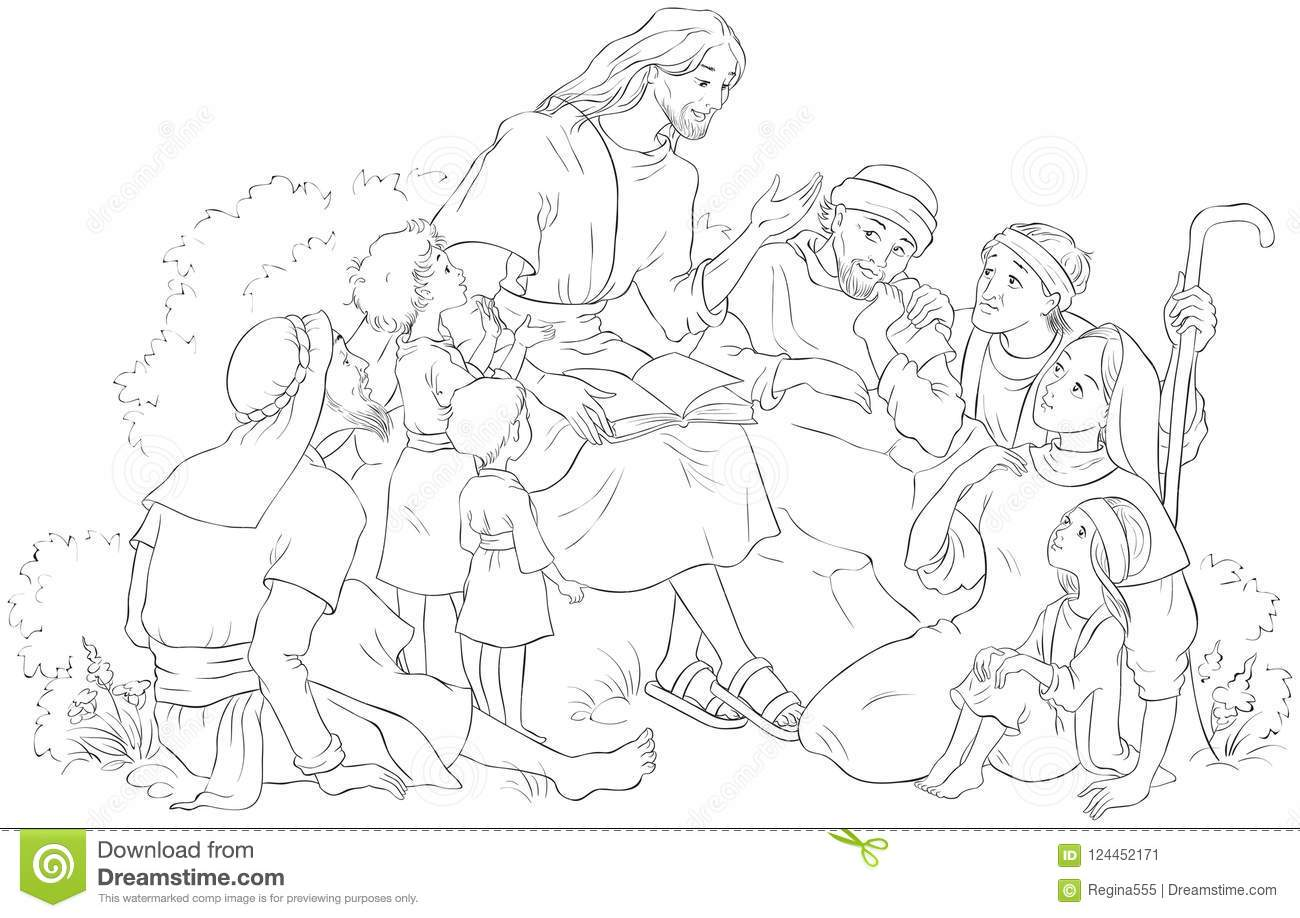 Download Jesus Preaching To A Group Of People Coloring Page Stock Vector