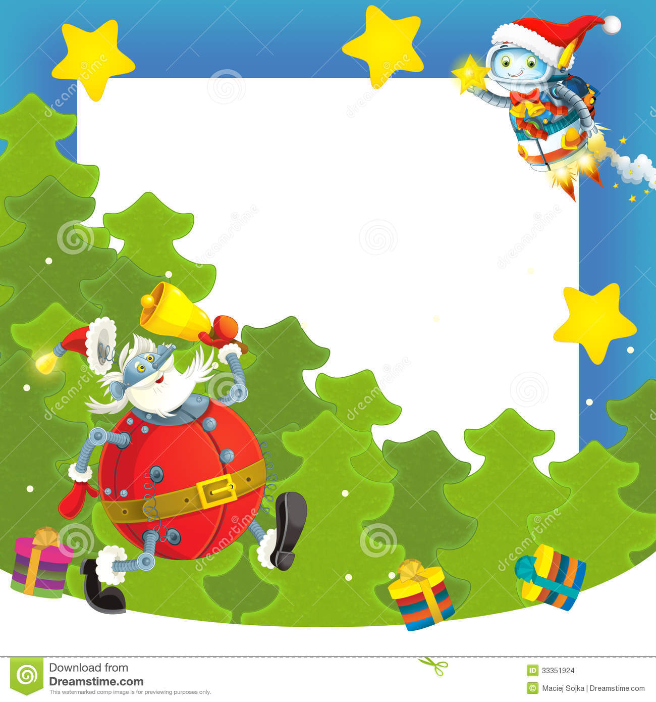 Colorful Christmas Background For Kids.Cartoon Christmas Border Illustration For The Children