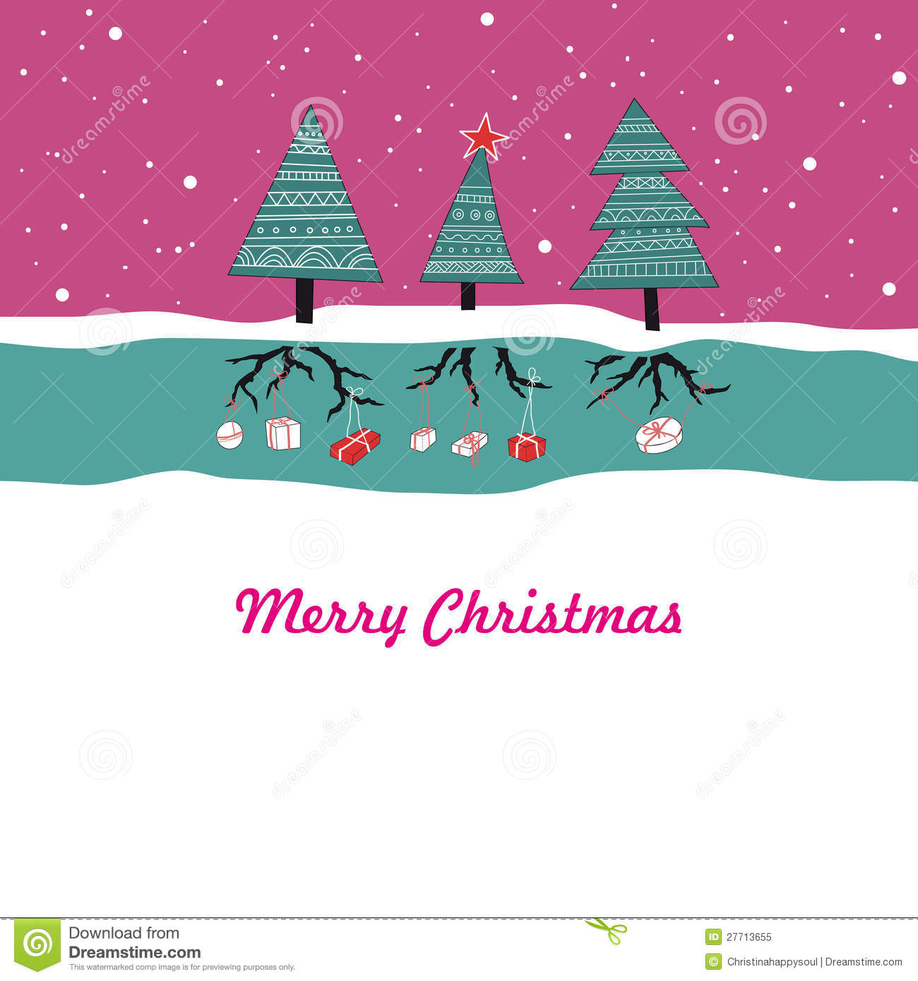 Cartoon Christmas Card Royalty Free Stock Photo - Image ...