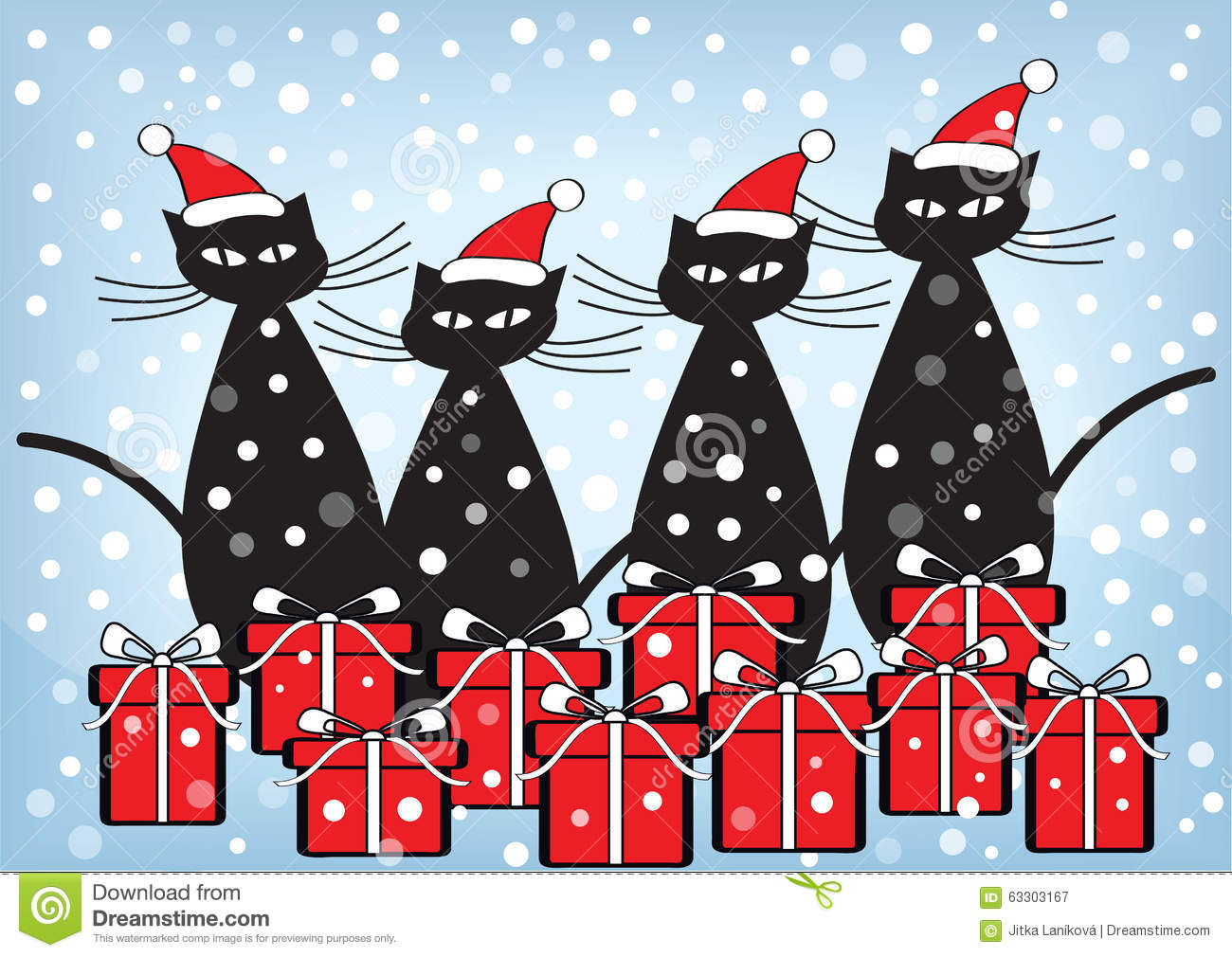 Cartoon Christmas Cats With Gifts Stock Illustration