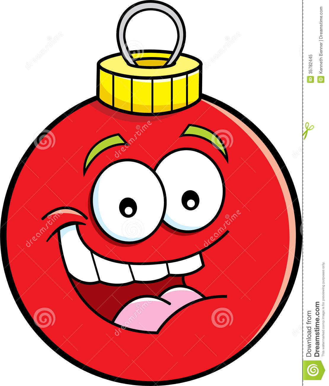 Cartoon Christmas Ornament Illustration Smiling Stock Illustrations