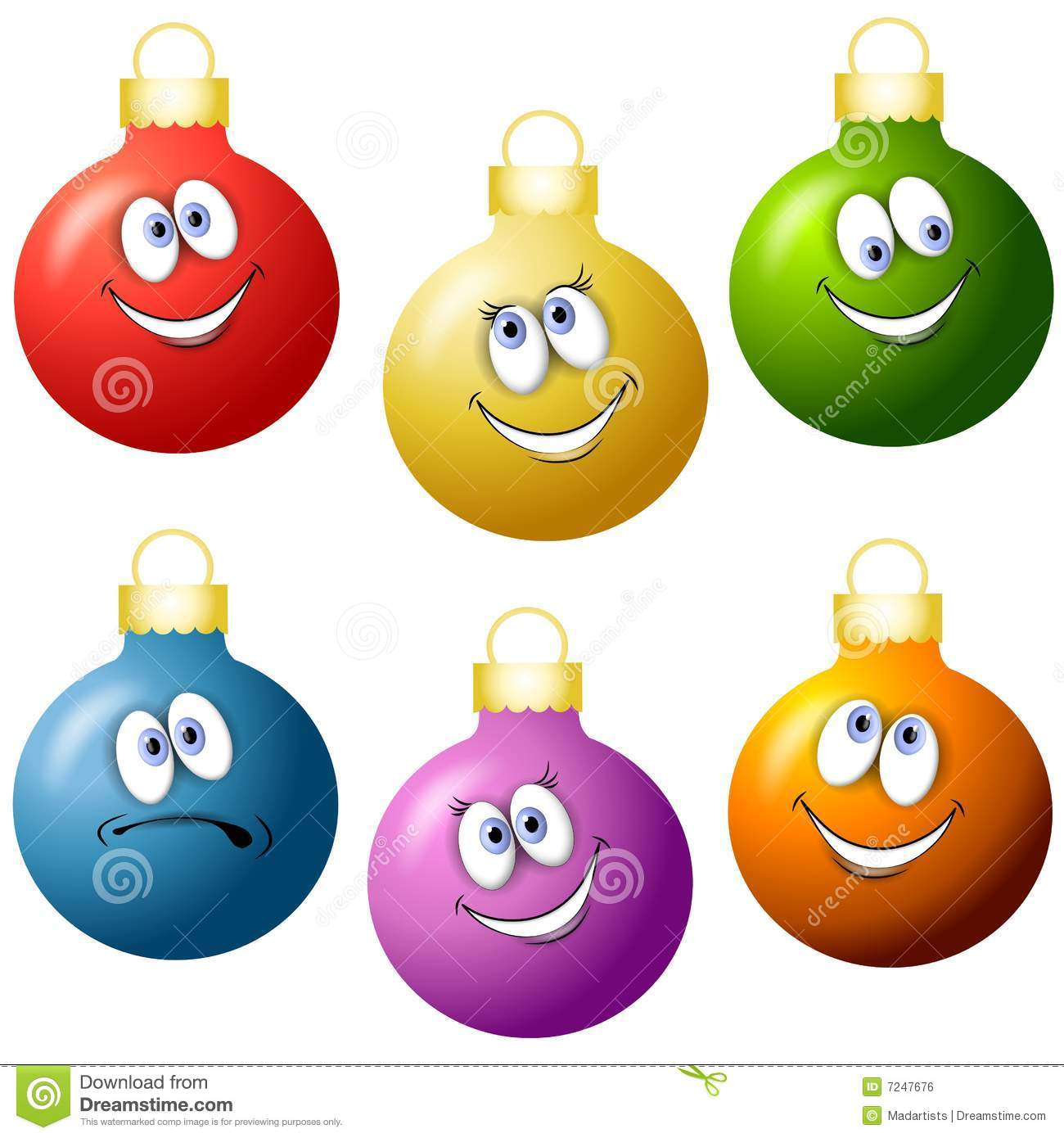Cartoon Christmas Ornaments Stock Illustration Illustration Of